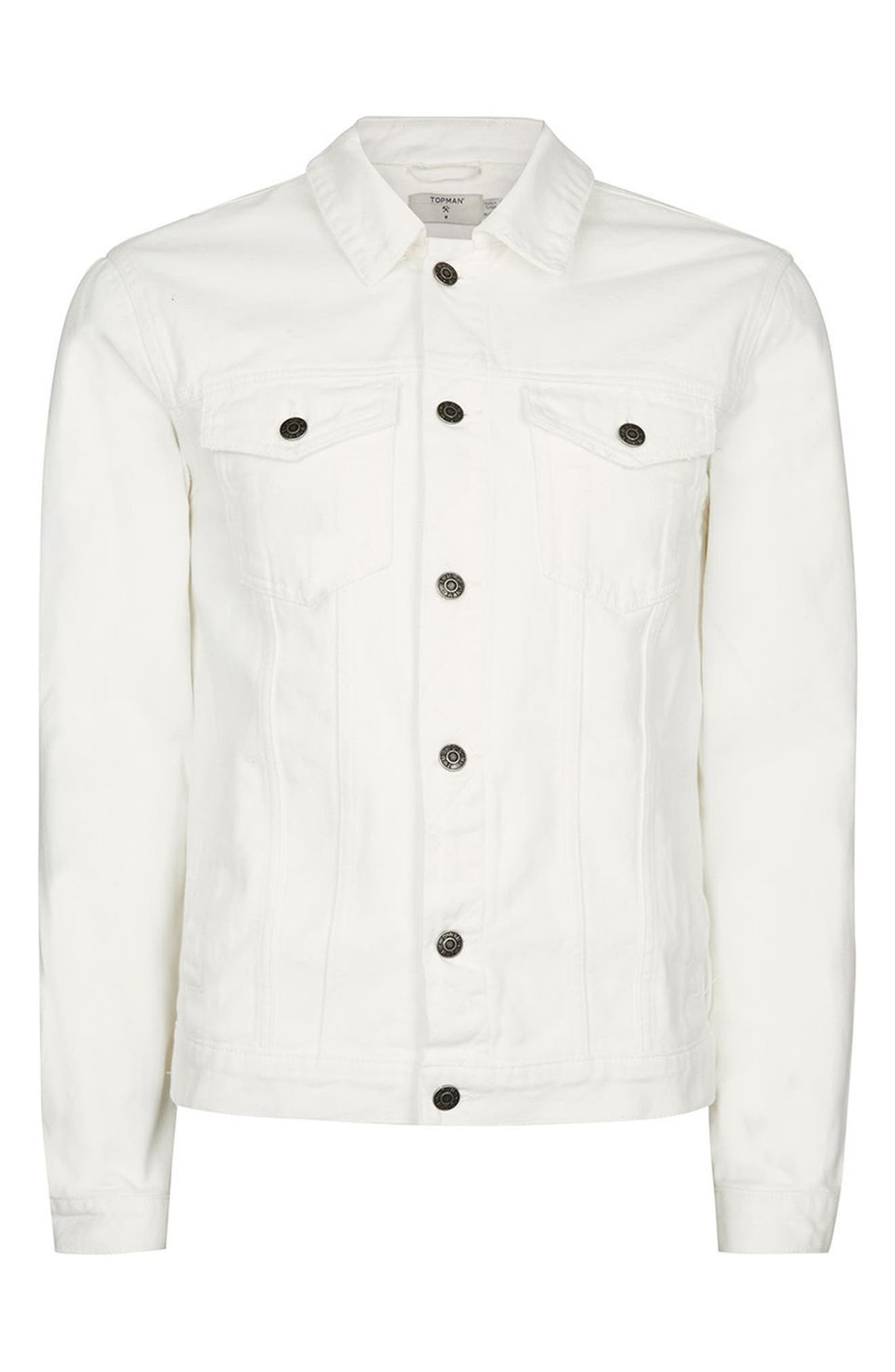 White Denim Western Jacket,                             Alternate thumbnail 4, color,                             100