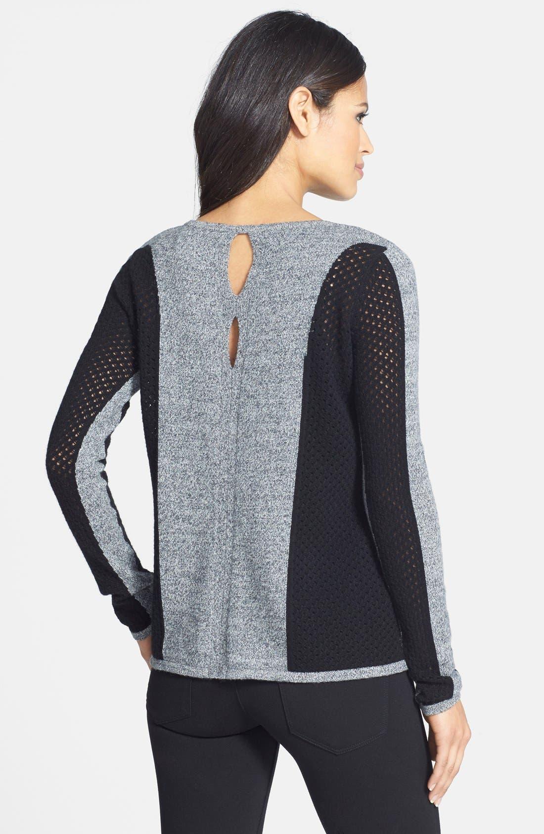 Colorblock Pointelle Cashmere Sweater,                             Alternate thumbnail 3, color,                             021