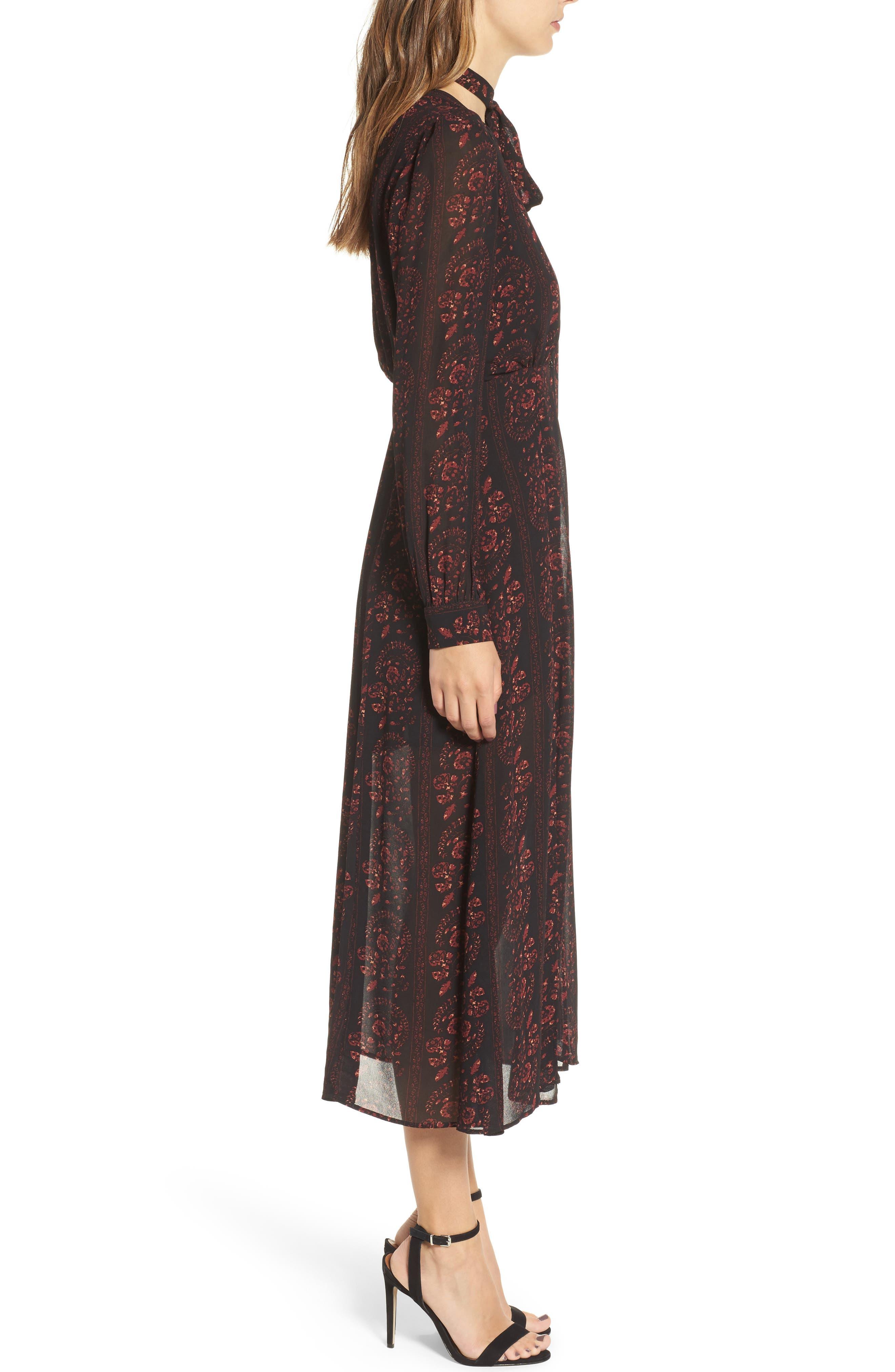 Natalie Midi Dress,                             Alternate thumbnail 3, color,                             004