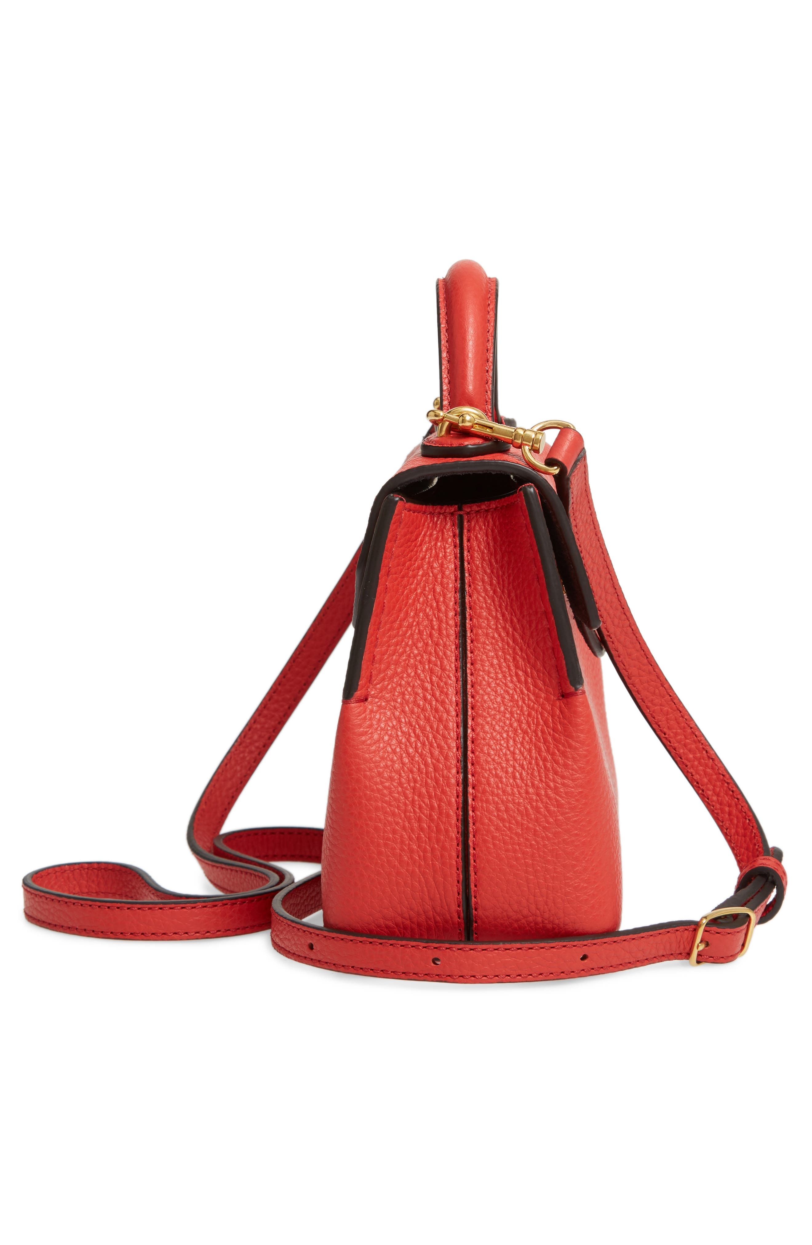 MULBERRY,                             Micro Seaton Leather Convertible Crossbody Bag,                             Alternate thumbnail 5, color,                             HIBISCUS RED