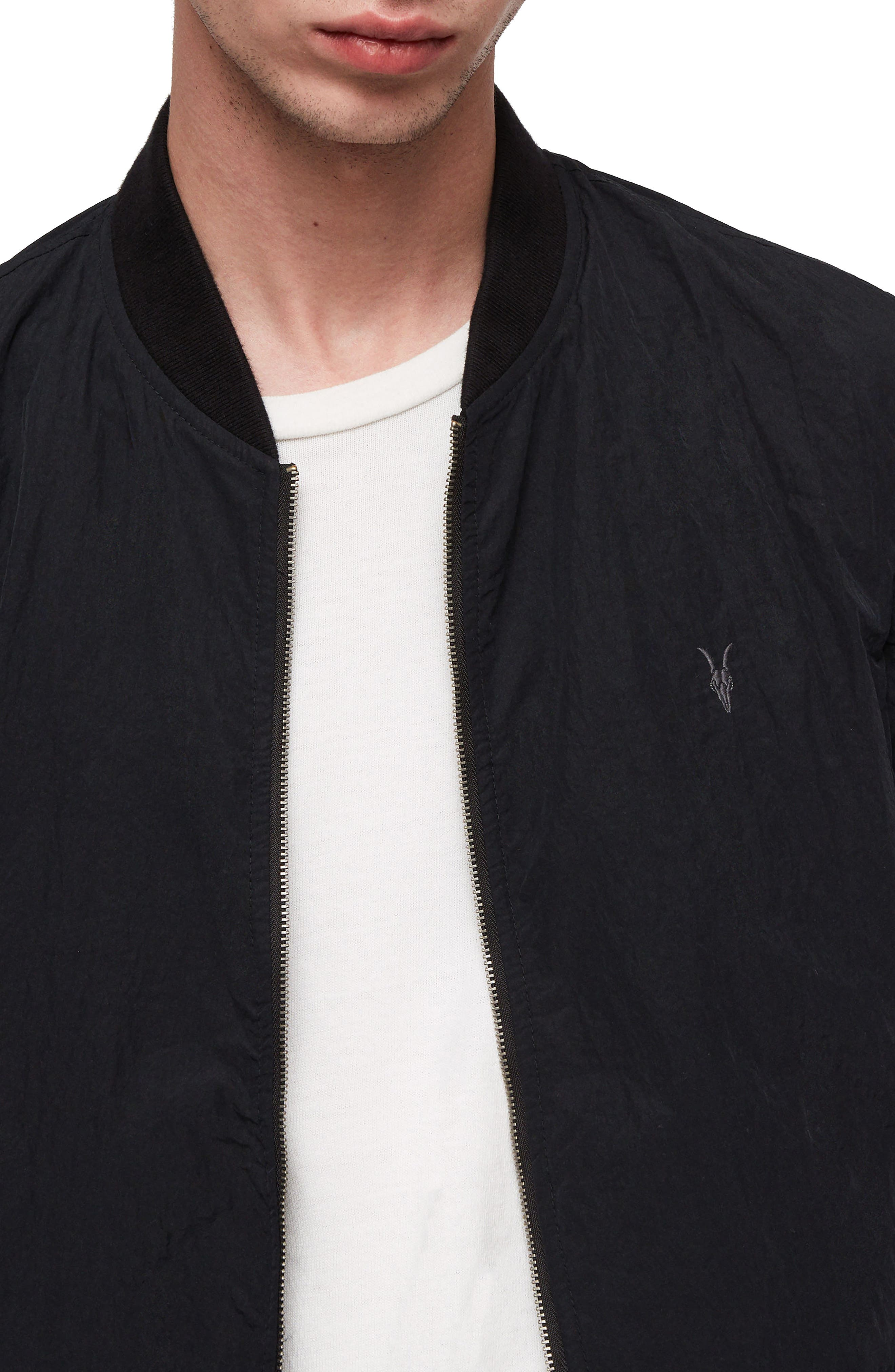 Fleet Lightweight Nylon Bomber Jacket,                             Alternate thumbnail 3, color,                             BLACK