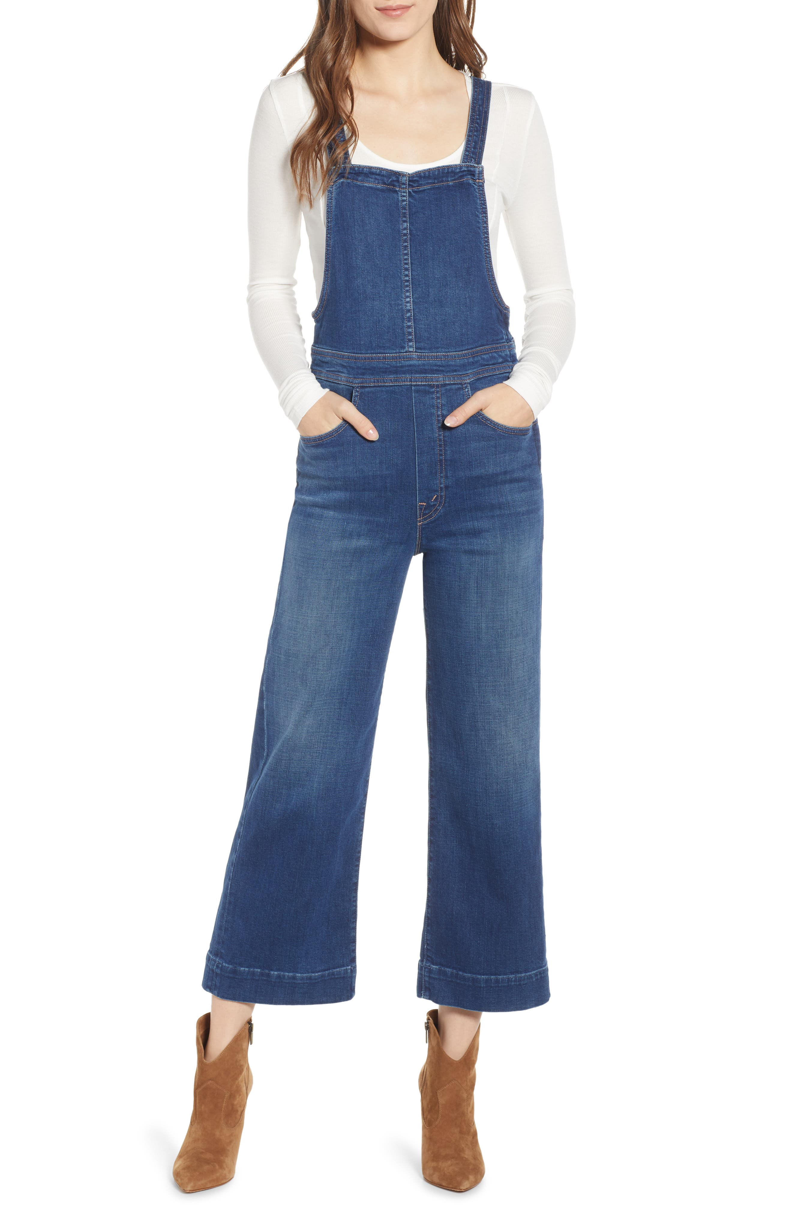 Greaser Cropped Wide-Leg Denim Overalls in What I Had Before I