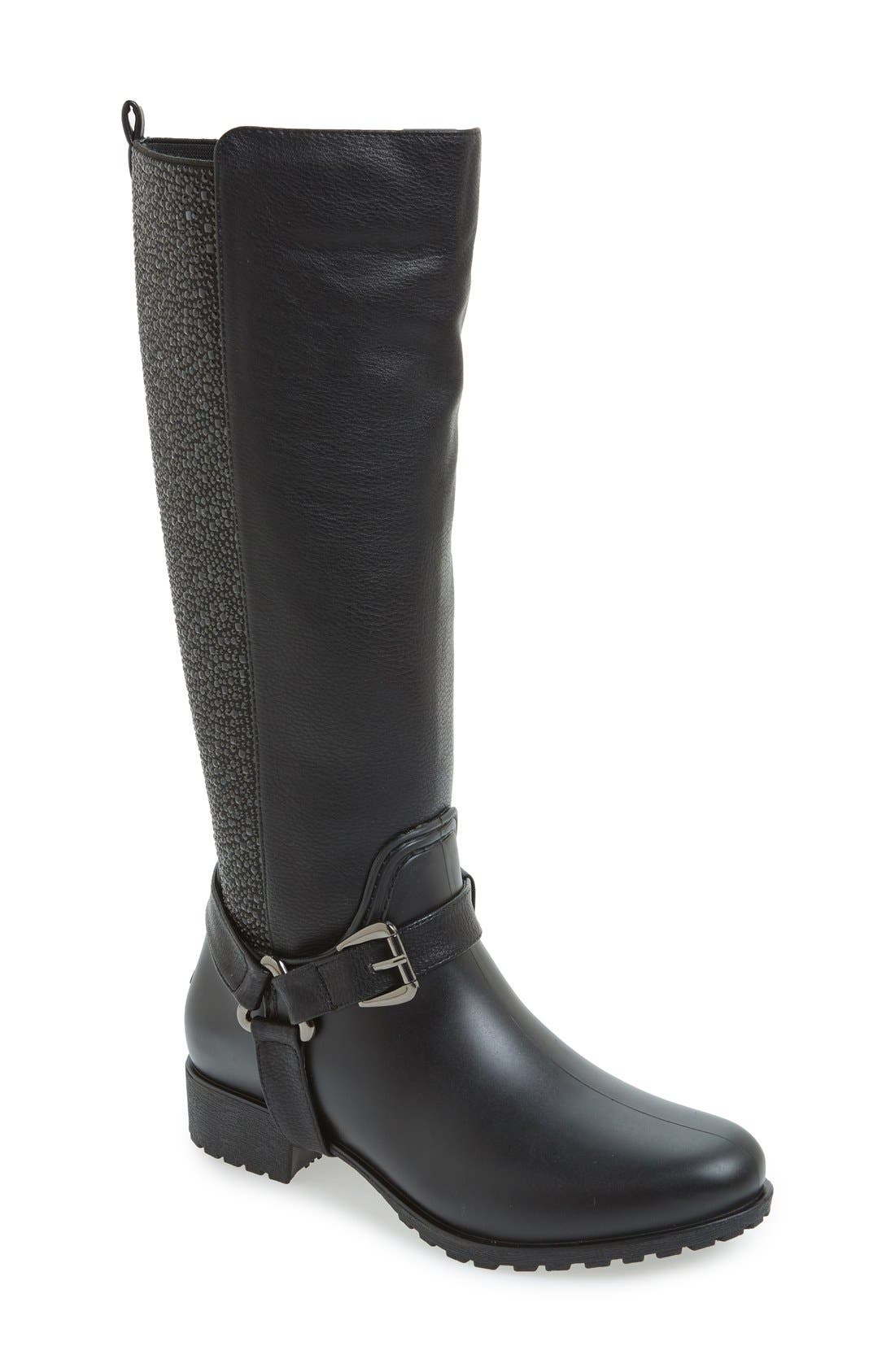 'Kingston' Water Resistant Sparkle Boot,                             Main thumbnail 1, color,                             BLACK