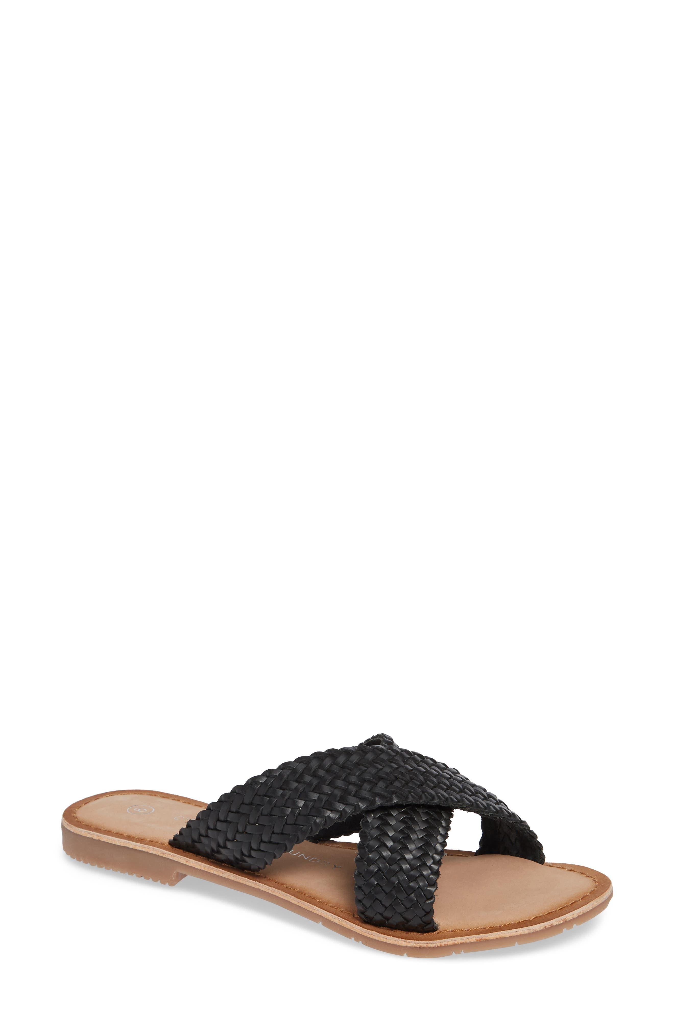 Pure Woven Slide Sandal,                             Main thumbnail 1, color,                             BLACK LEATHER