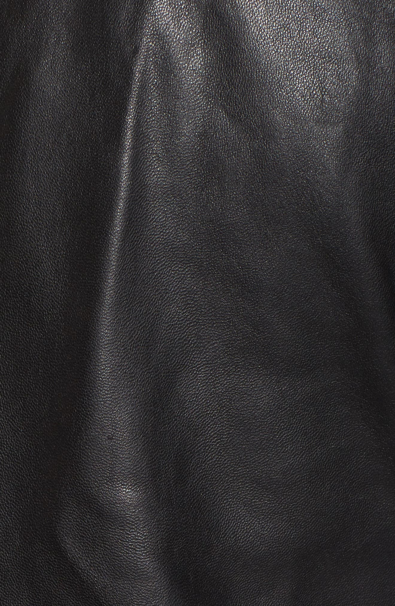 Leather Jacket with Detachable Genuine Shearling,                             Alternate thumbnail 6, color,                             001