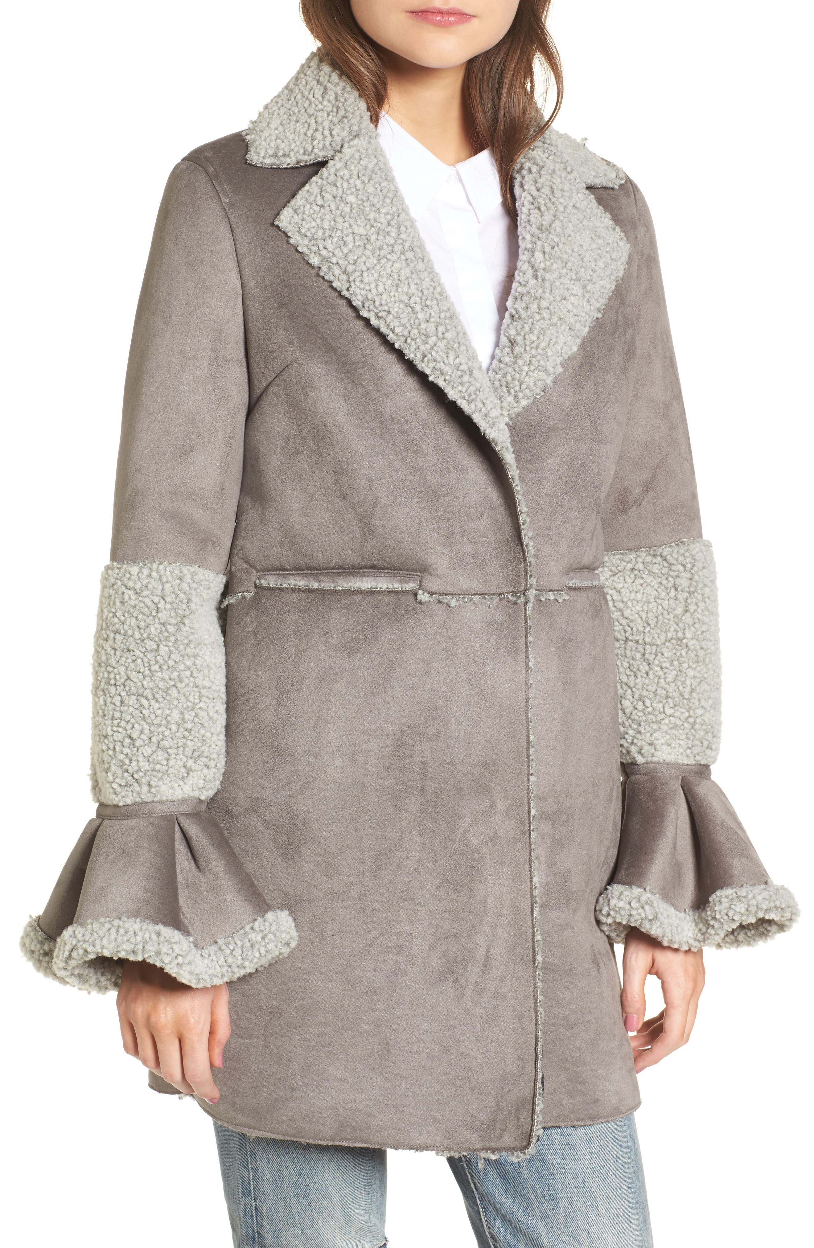 LOST INK,                             Faux Shearling Coat,                             Alternate thumbnail 4, color,                             020