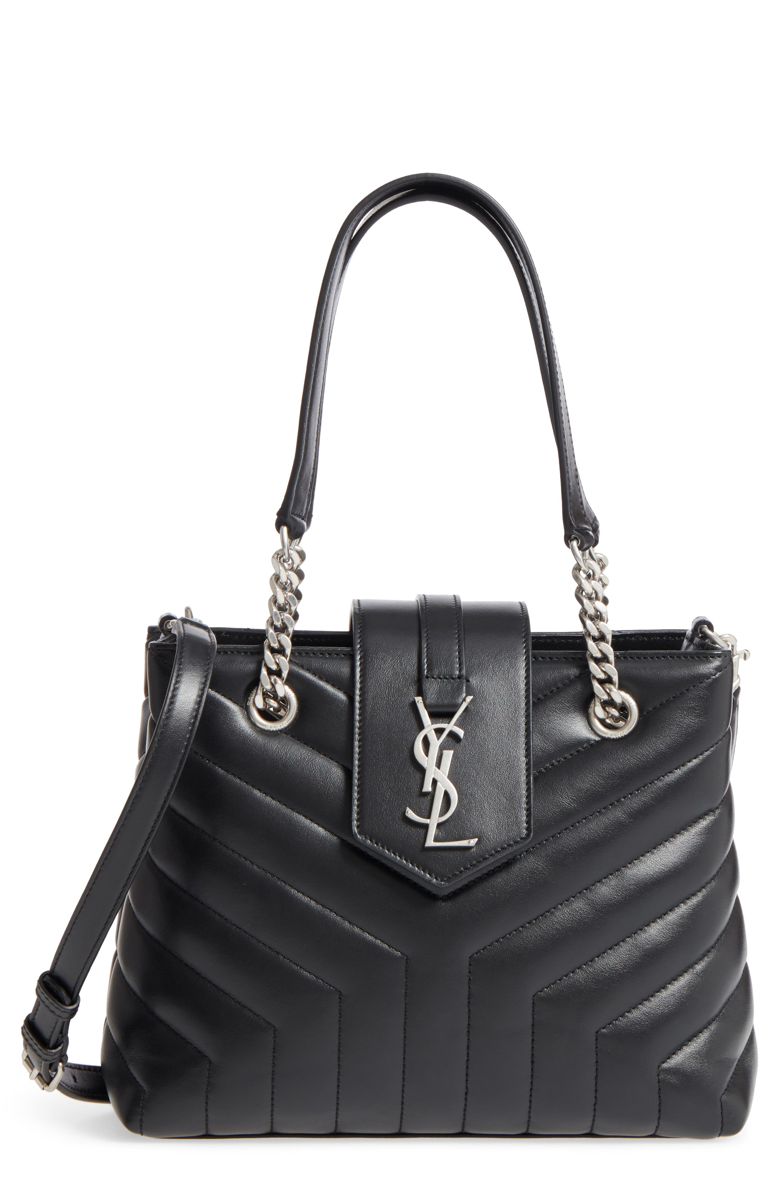 Small Loulou Matelassé Leather Shopper,                             Main thumbnail 1, color,                             NOIR