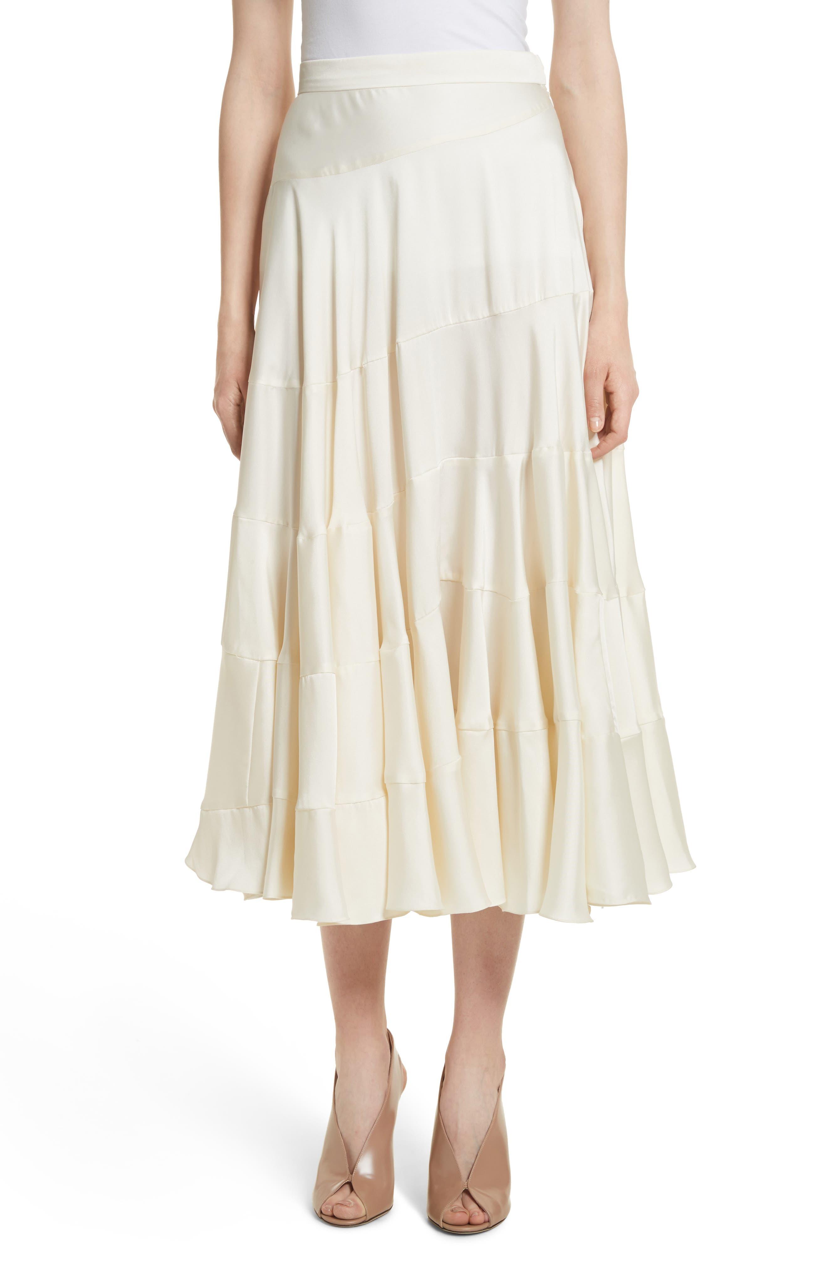Lasse Satin Paneled Midi Skirt,                             Main thumbnail 1, color,