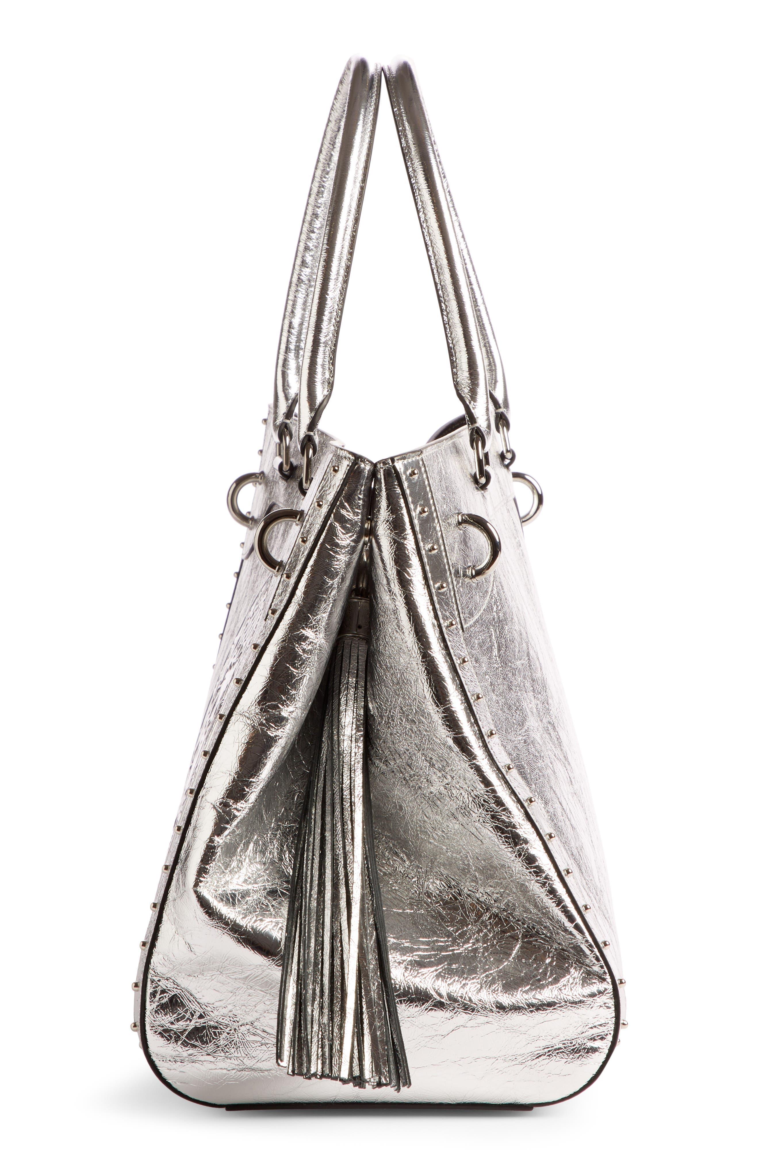 Renaissance Metallic Leather Tote,                             Alternate thumbnail 3, color,                             040