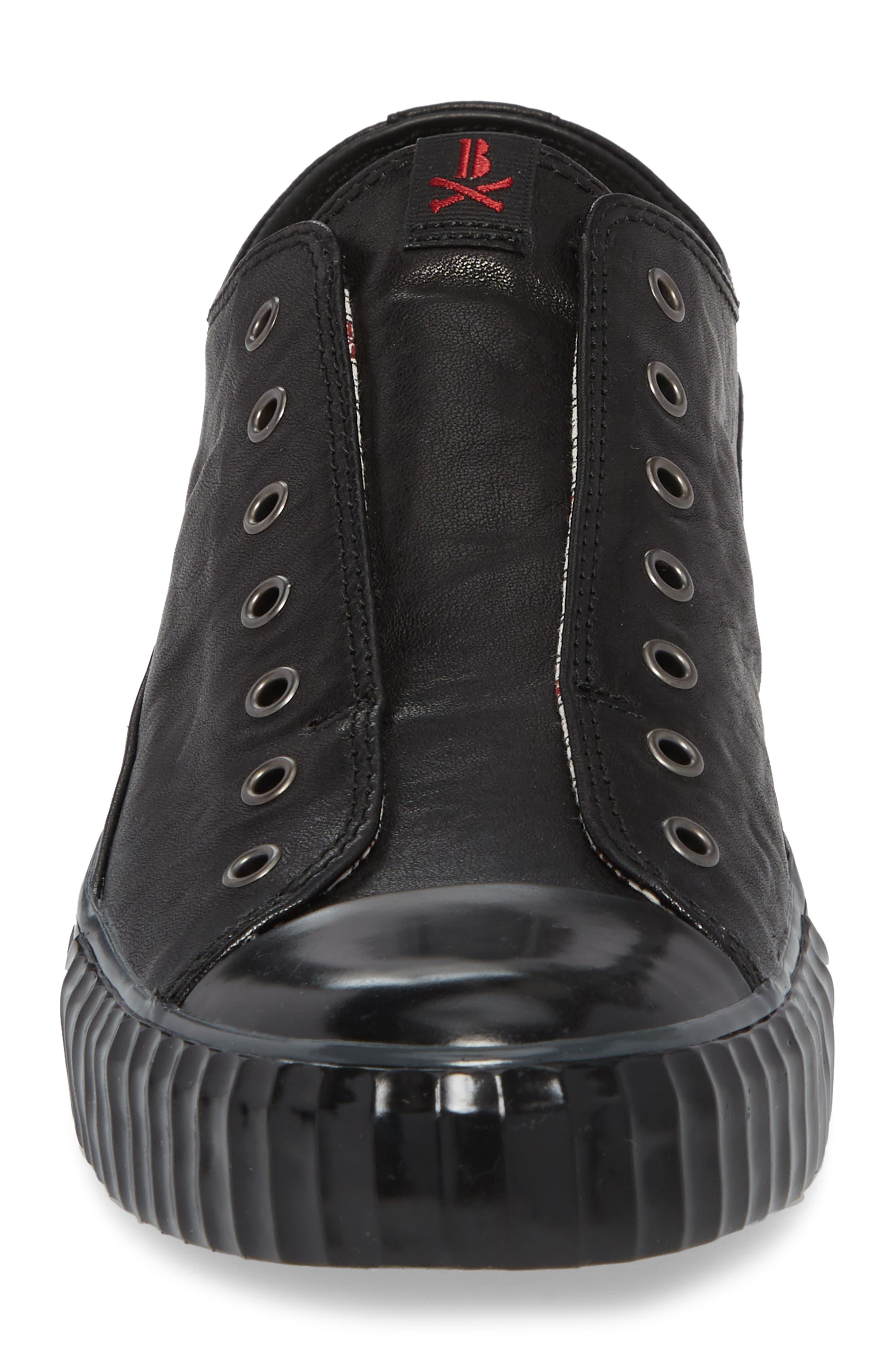 John Varvatos Star USA Bootleg Laceless Low Top Sneaker,                             Alternate thumbnail 4, color,                             BLACK LEATHER