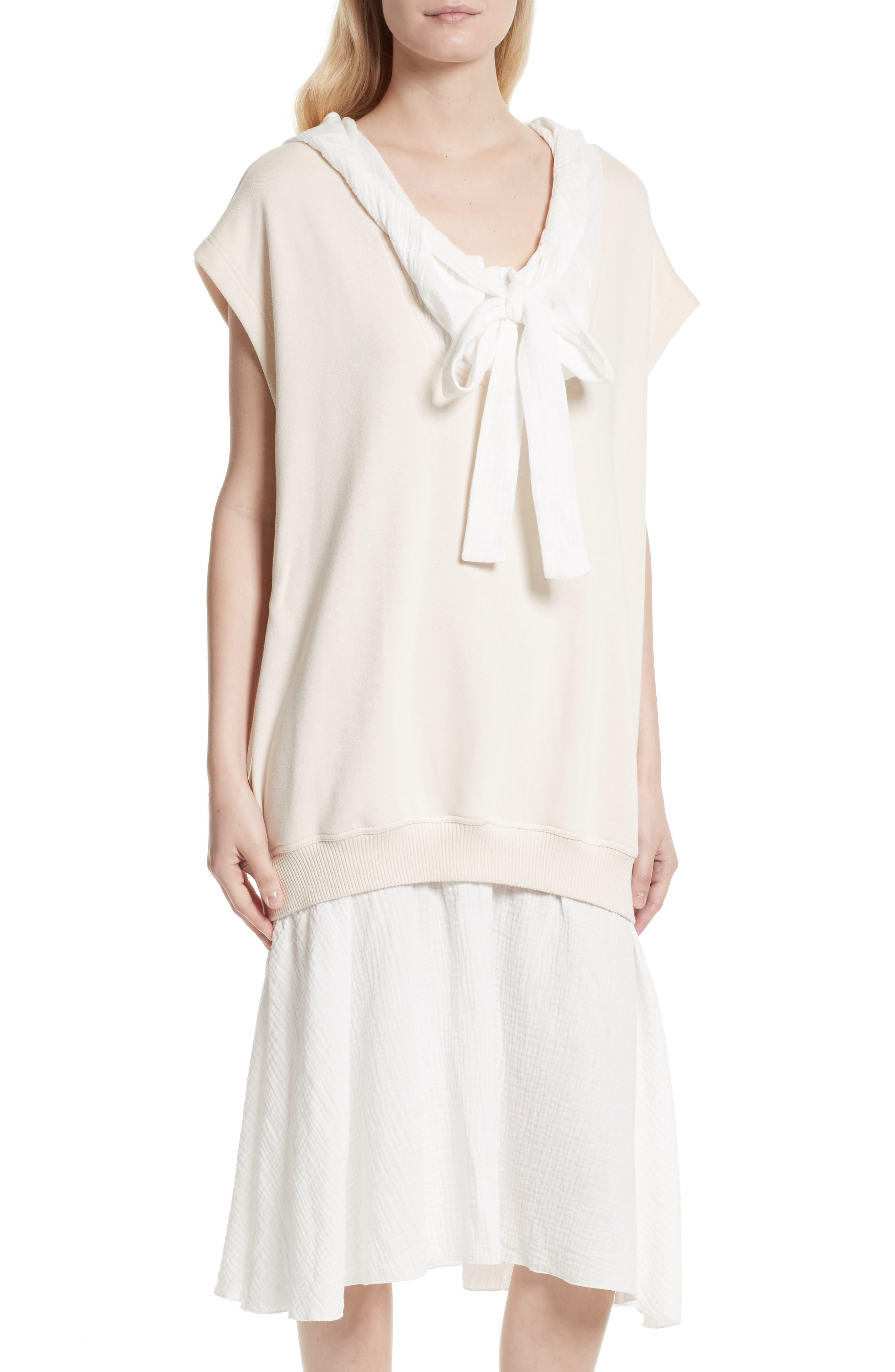Hooded Sweatshirt Overlay Dress,                             Alternate thumbnail 4, color,                             170