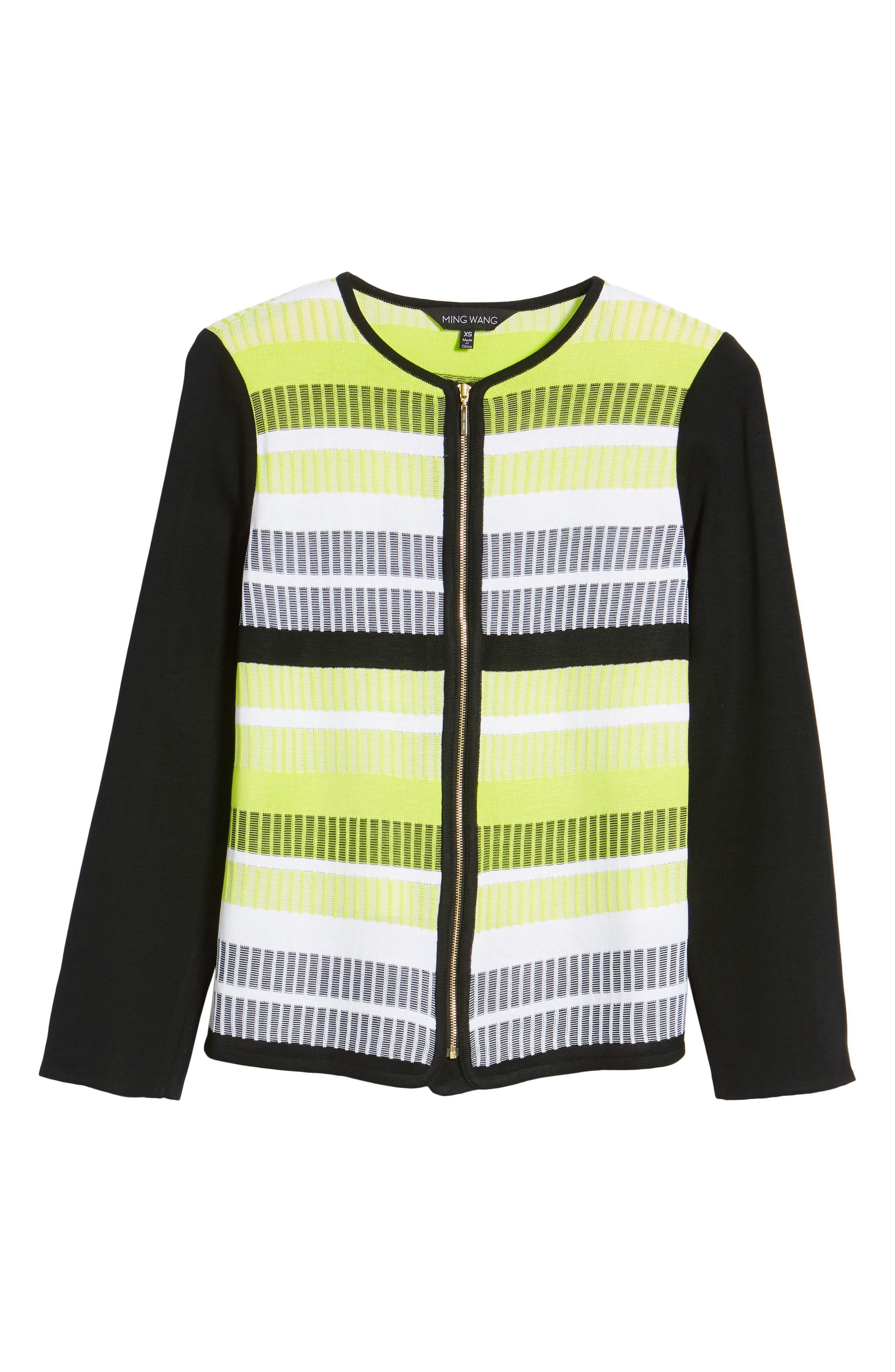 Long Sleeve Stripe Jacket,                             Alternate thumbnail 5, color,                             BLACK/ PEAR/ WHITE