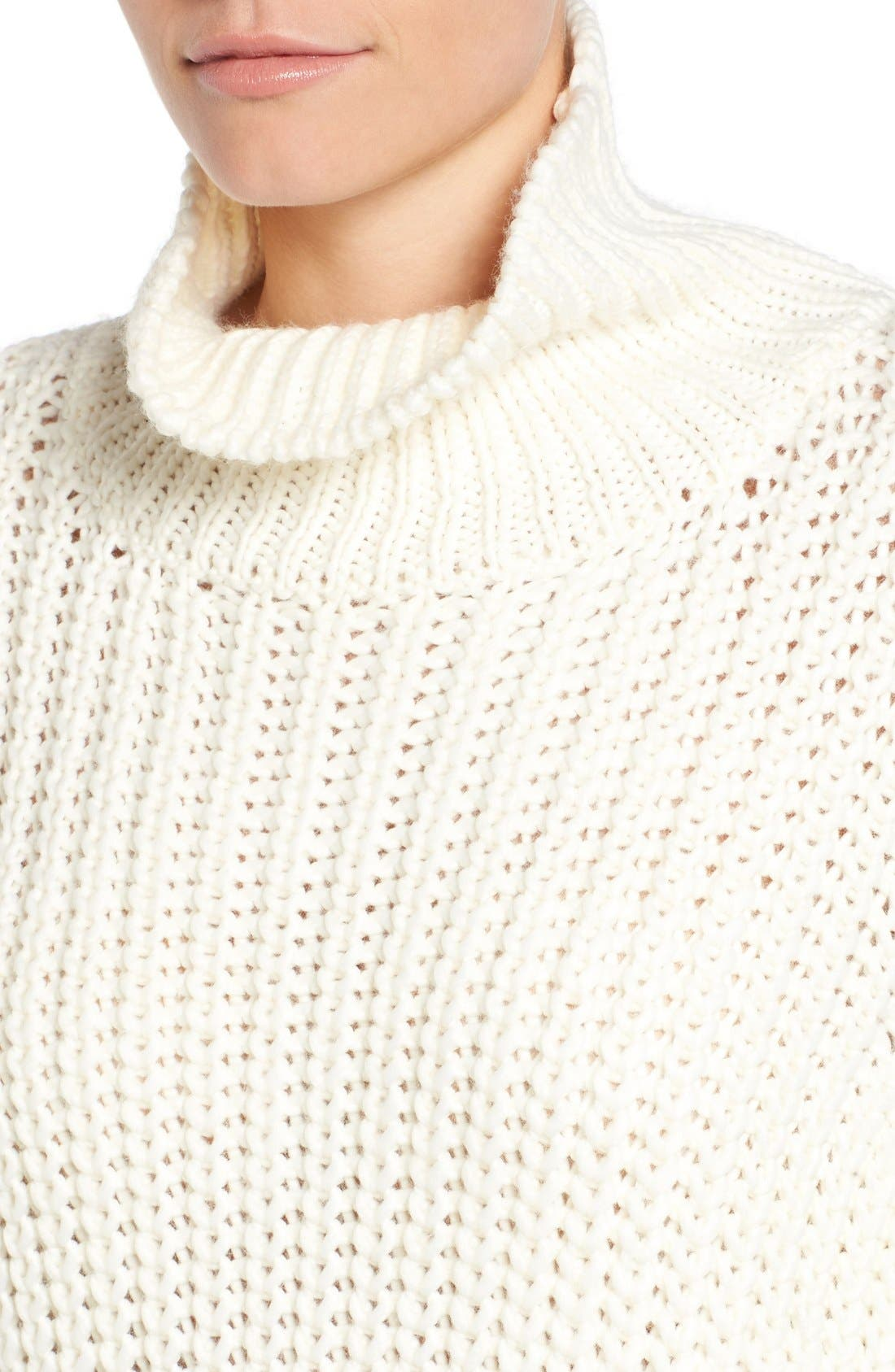Knit Funnel Neck Sweater,                             Alternate thumbnail 4, color,                             907