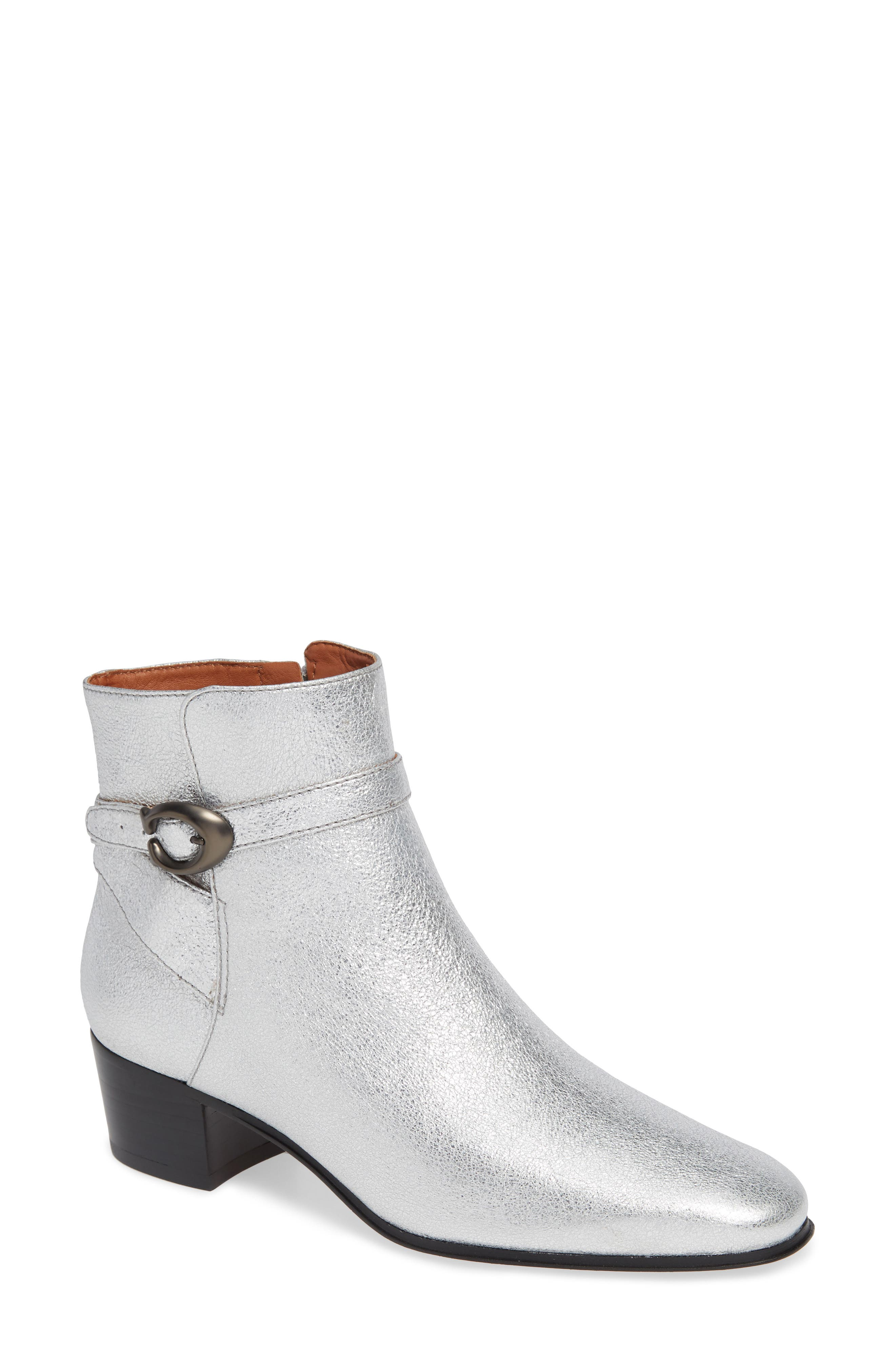 Chrystie Bootie,                             Main thumbnail 1, color,                             SILVER LEATHER
