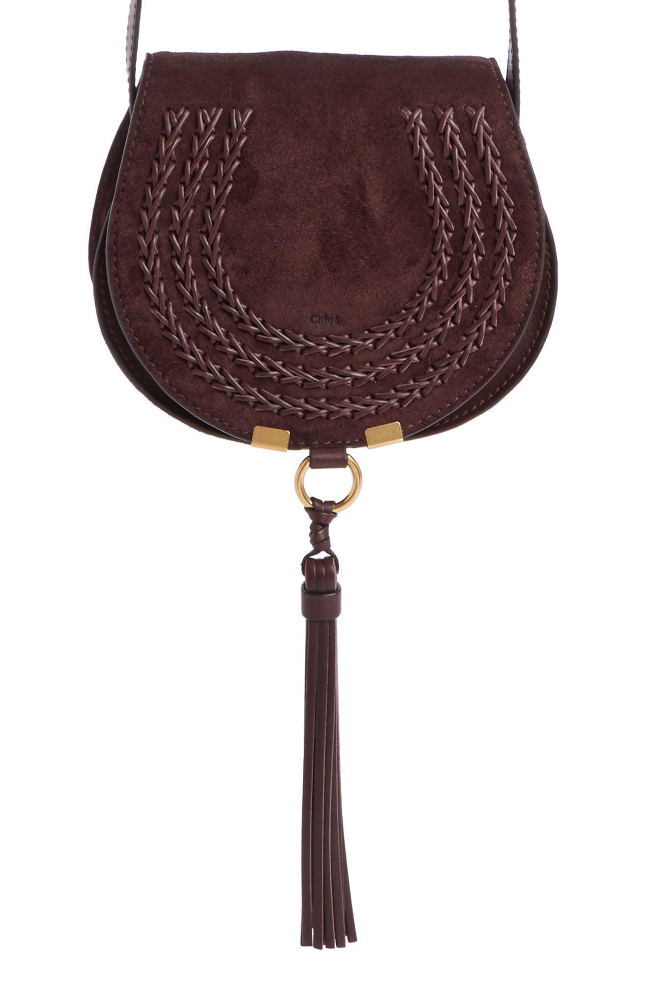 'Mini Marcie' Suede Saddle Bag,                         Main,                         color, 209