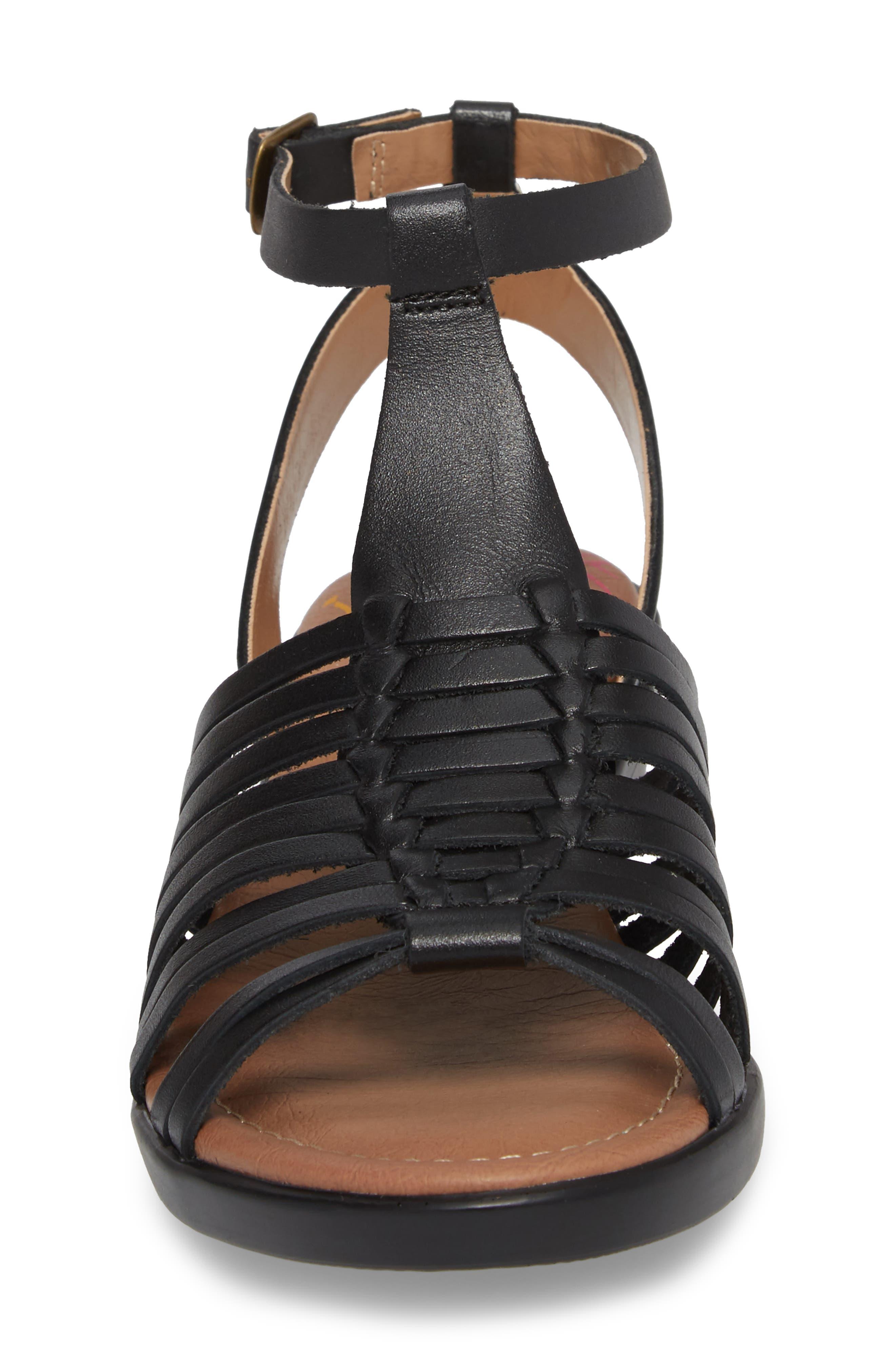 Farina Huarache Sandal,                             Alternate thumbnail 4, color,                             BLACK LEATHER