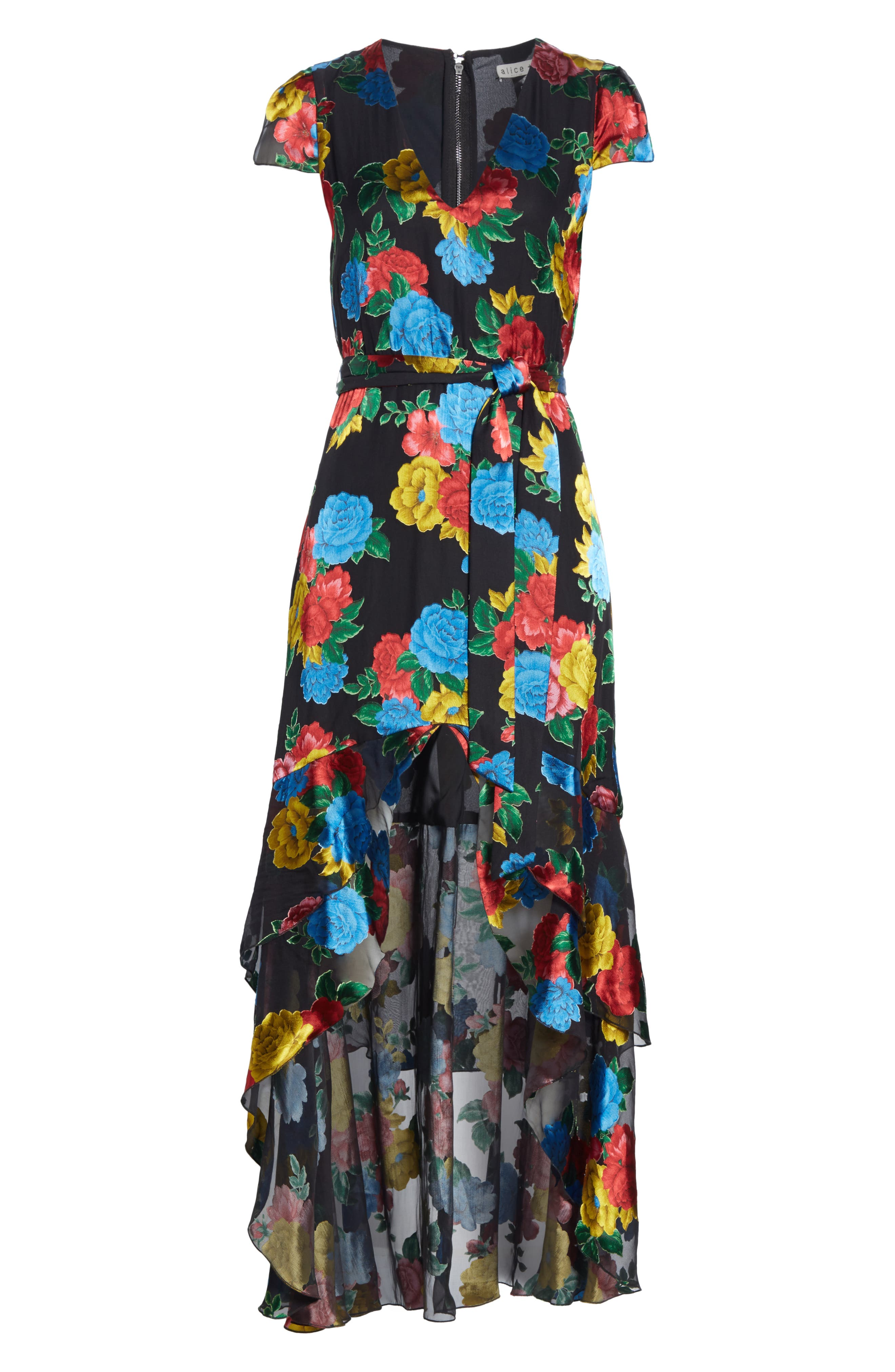 Erika Ruffle High/Low Midi Dress,                             Alternate thumbnail 7, color,                             CAMELLIA BOUQUET BLACK/ MULTI