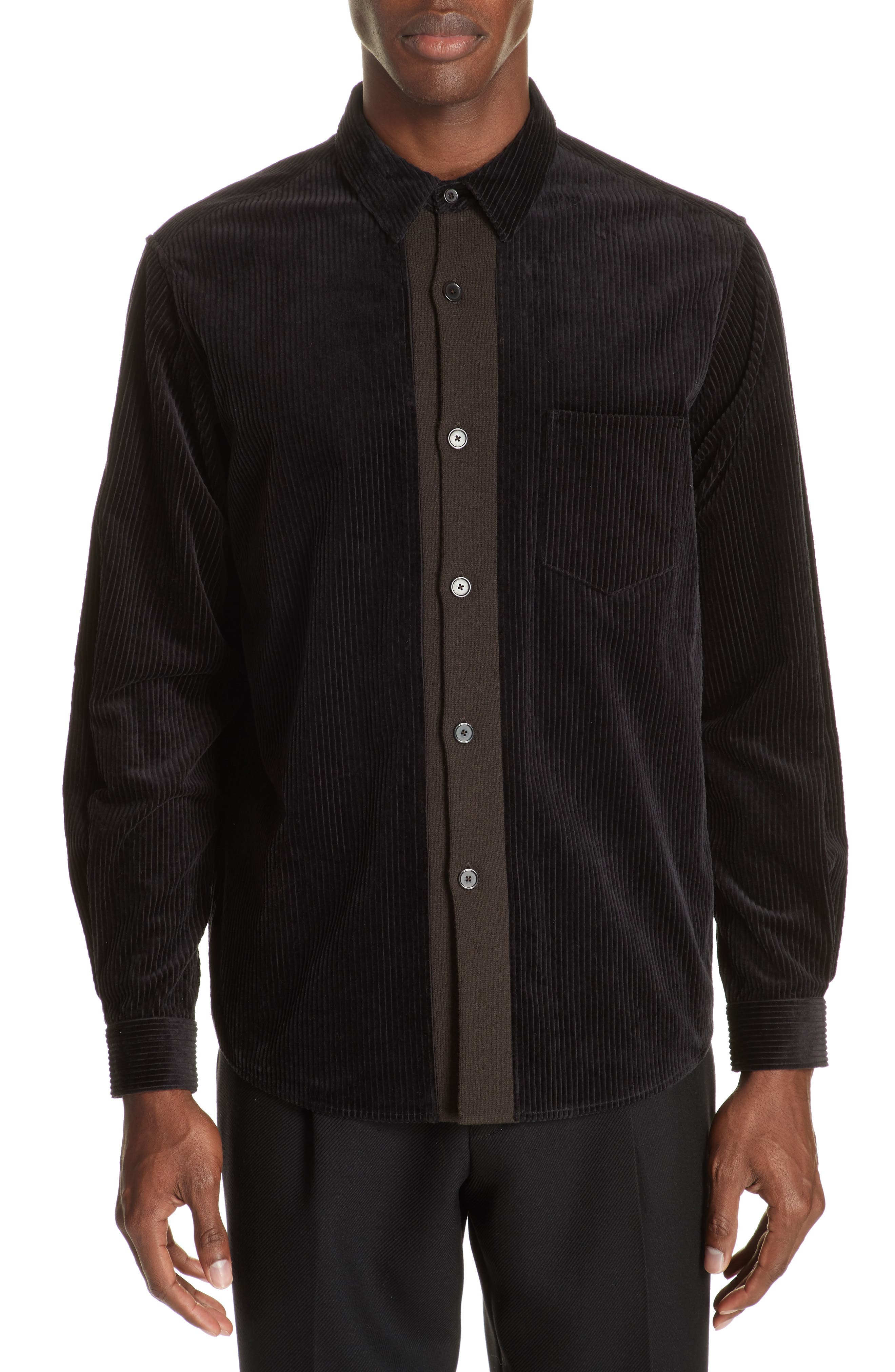 TOMORROWLAND Corduroy Shirt, Main, color, 001