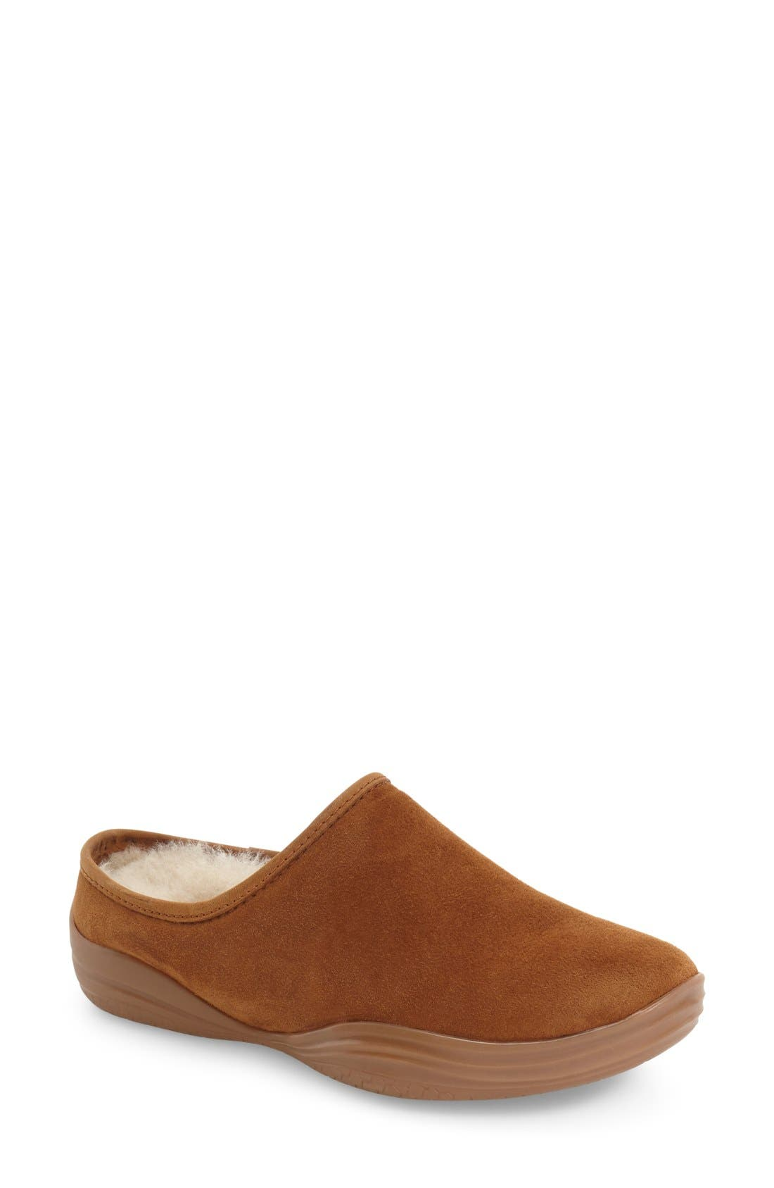 'Stamford' Genuine Shearling Clog Slipper,                         Main,                         color, BEIGE/ BROWN LEATHER
