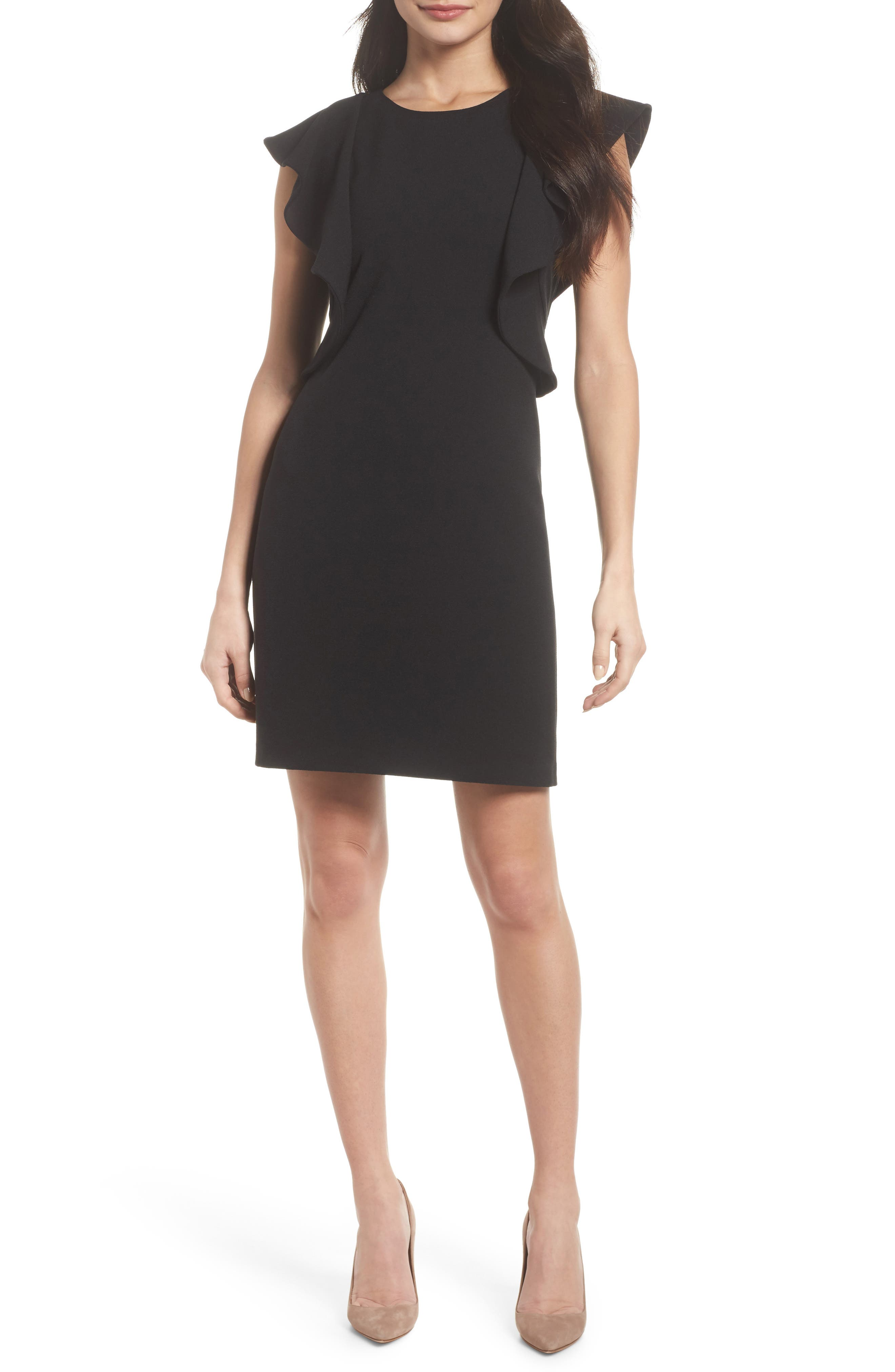 Ruffle Shift Dress,                         Main,                         color, 001