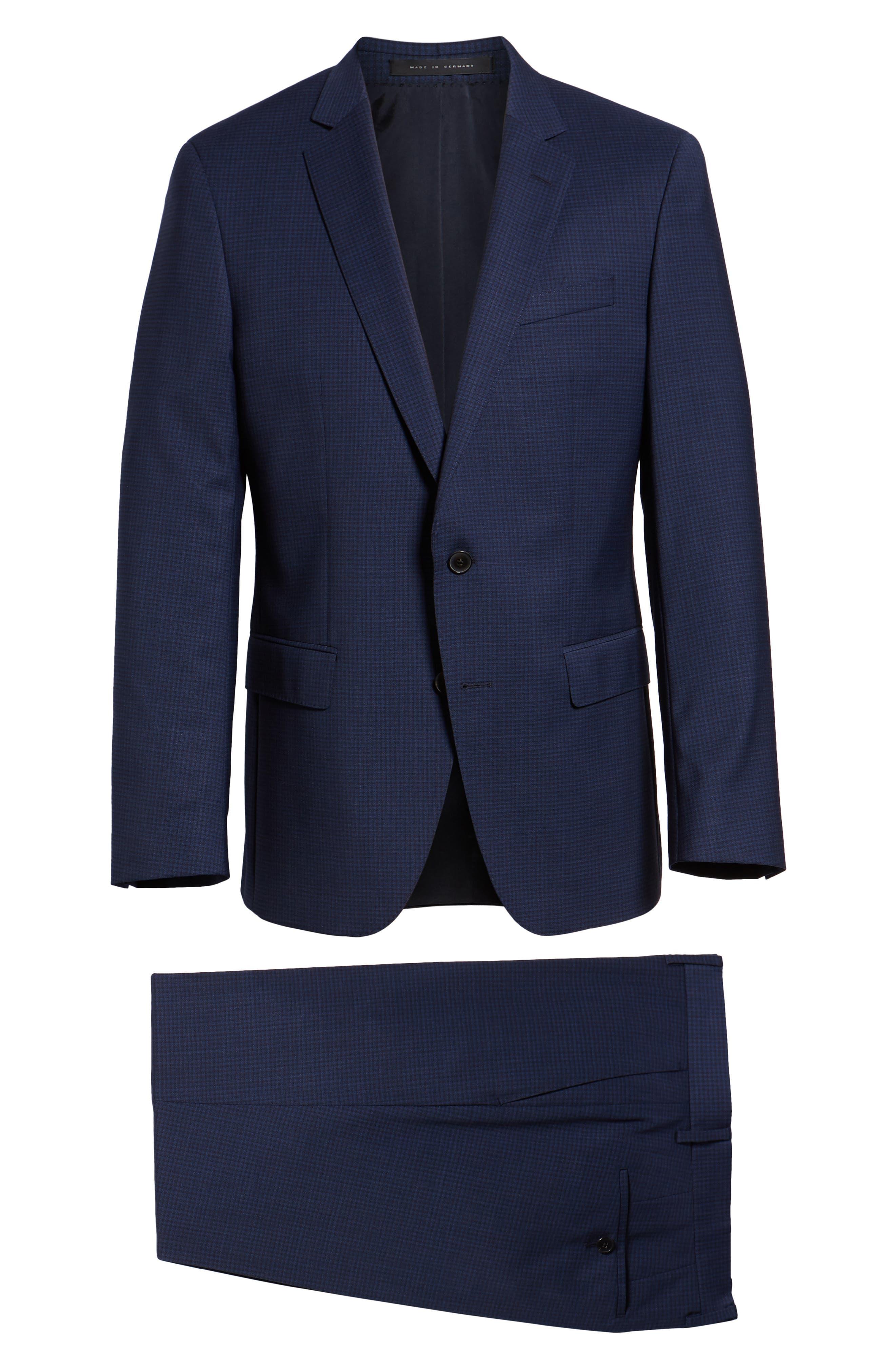 Huge/Genius Trim Fit Solid Wool Suit,                             Alternate thumbnail 8, color,                             DARK BLUE