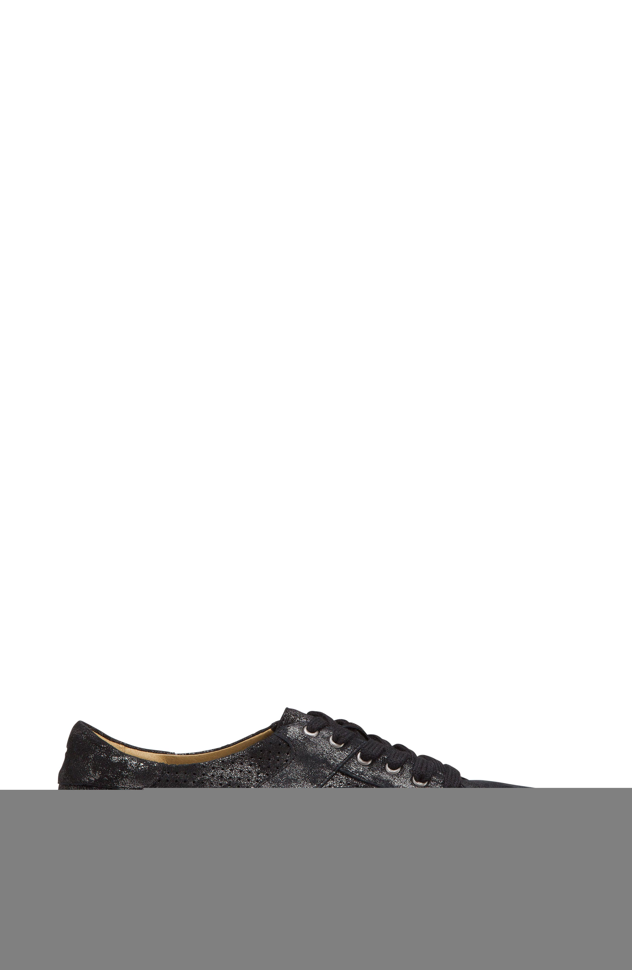 Lindsey Sneaker,                             Alternate thumbnail 3, color,                             BLACK METALLIC LEATHER