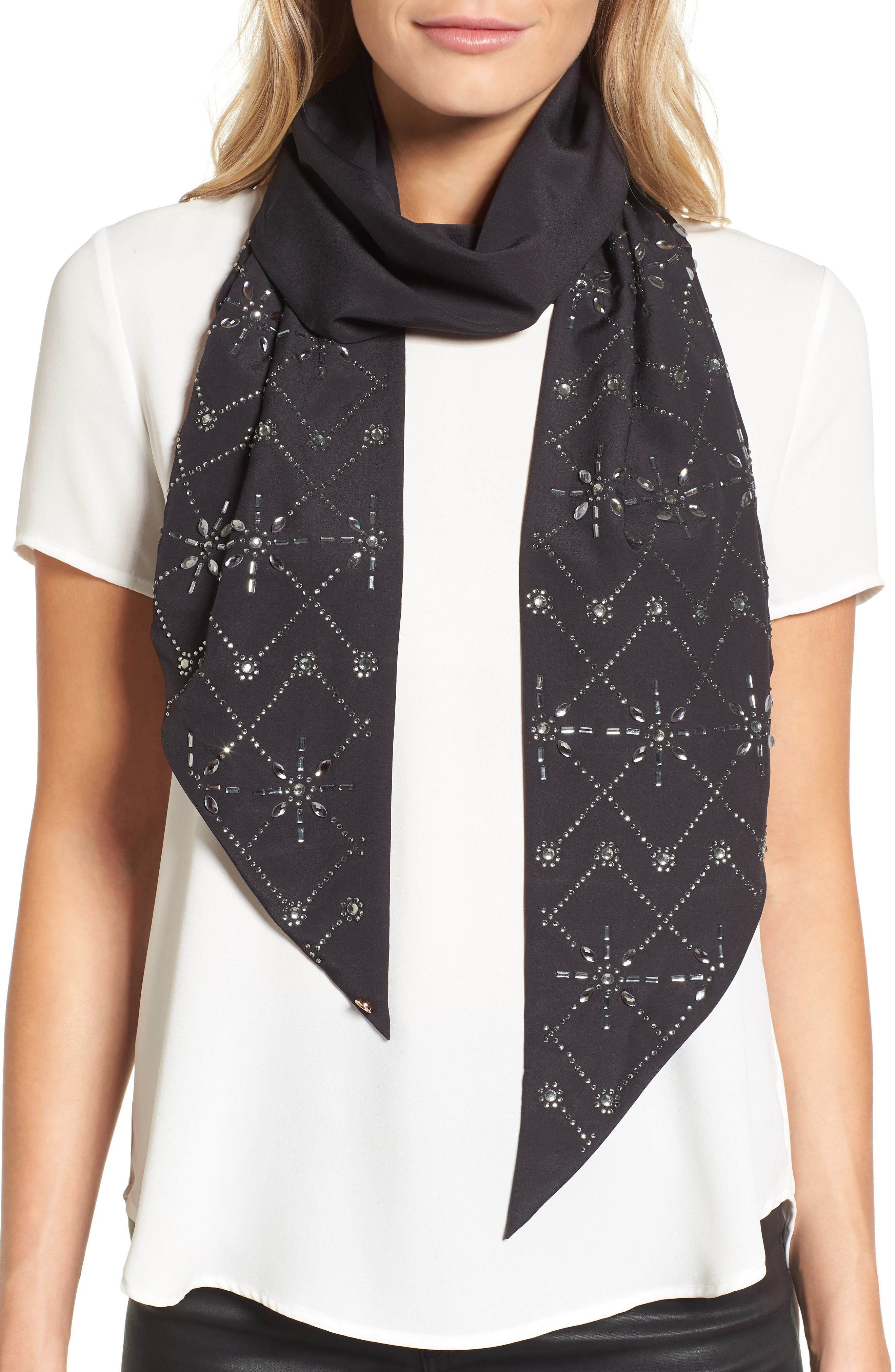 Hot Fix Embellished Skinny Scarf,                             Main thumbnail 1, color,