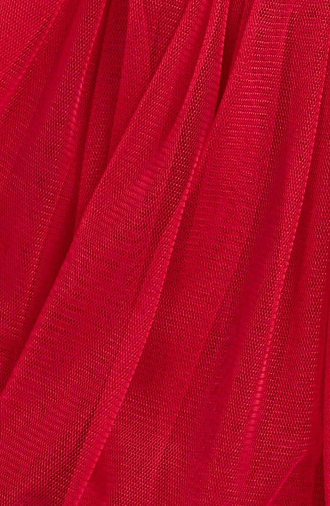 Rosette Tulle Dress,                             Alternate thumbnail 3, color,                             RED