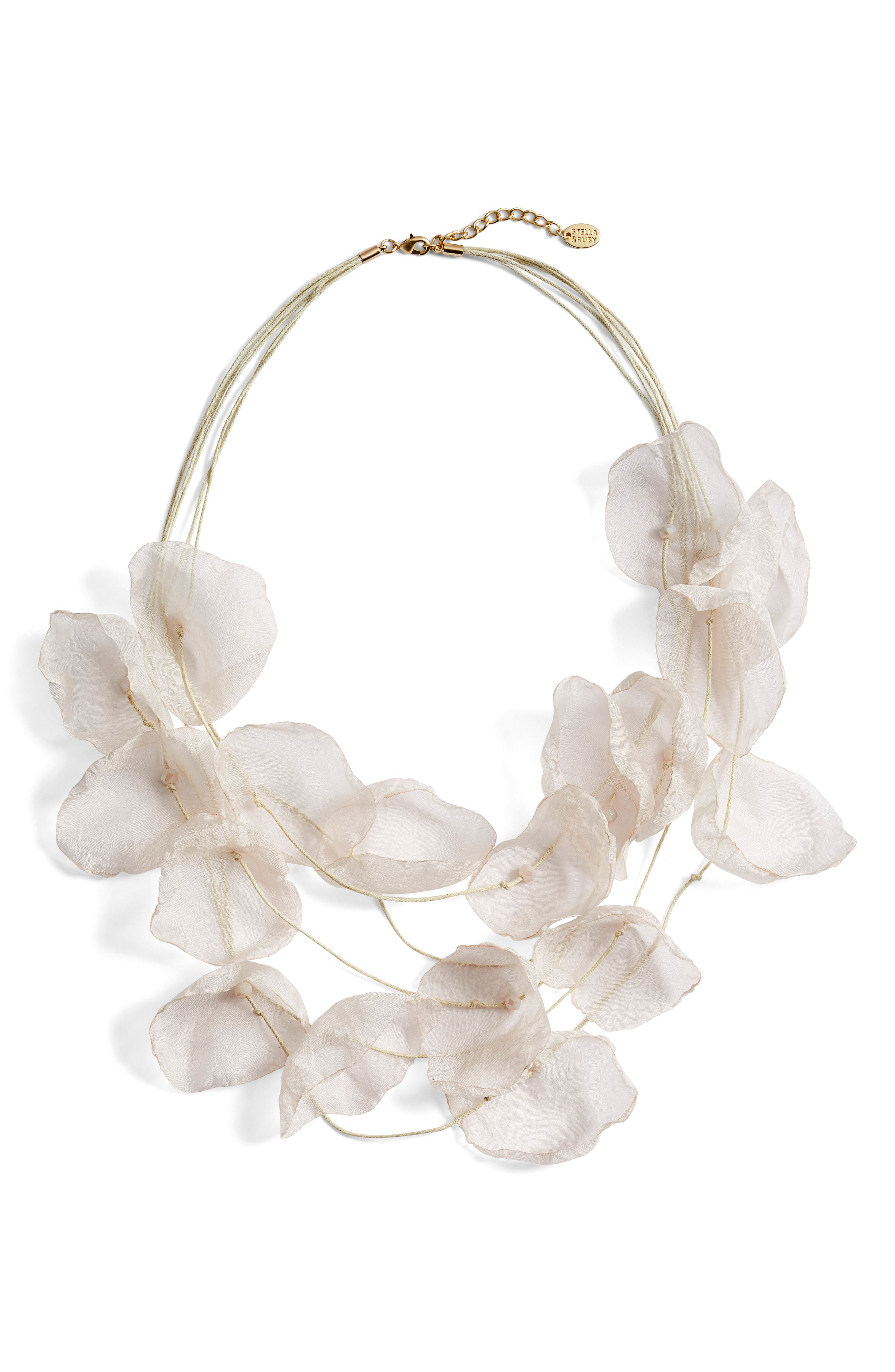 Chiffon Flower Statement Necklace,                         Main,                         color, IVORY