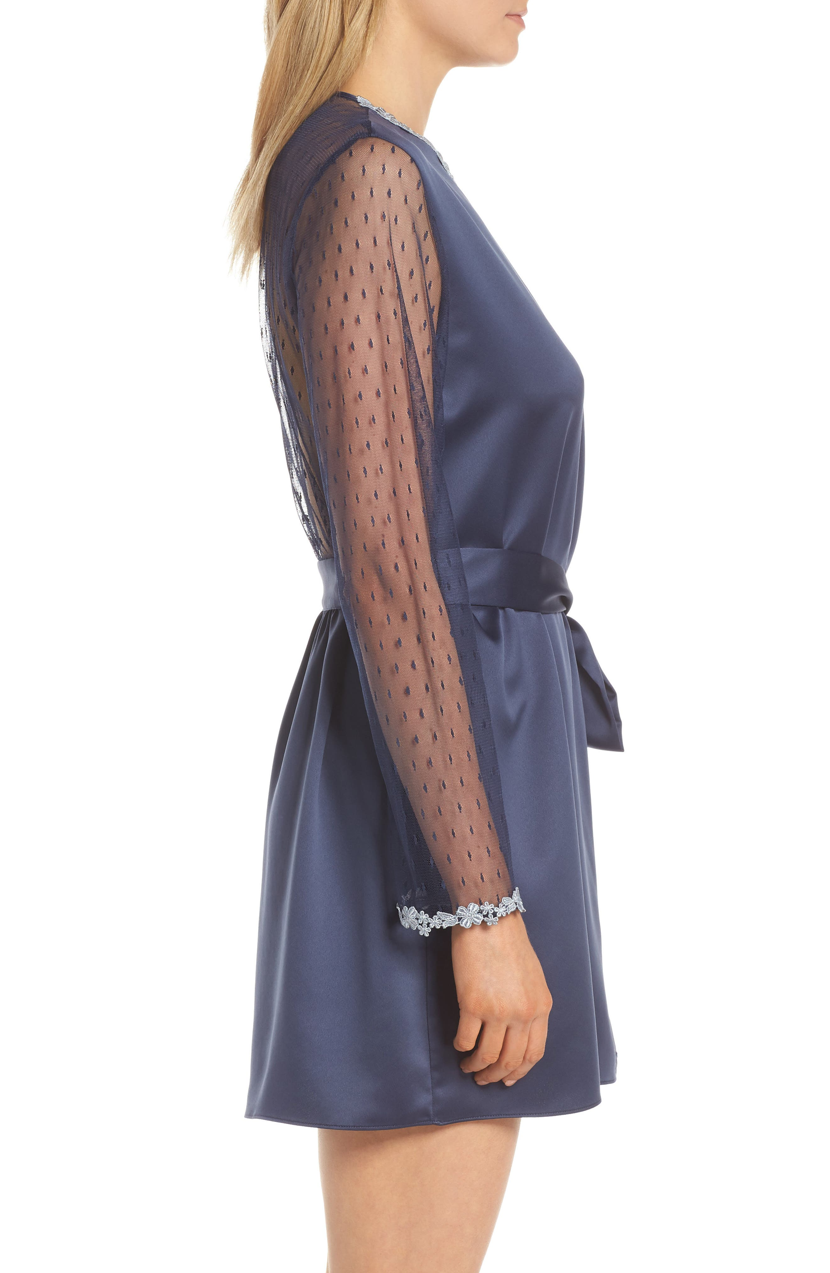 FLORA NIKROOZ,                             Showstopper Robe,                             Alternate thumbnail 3, color,                             NAVY