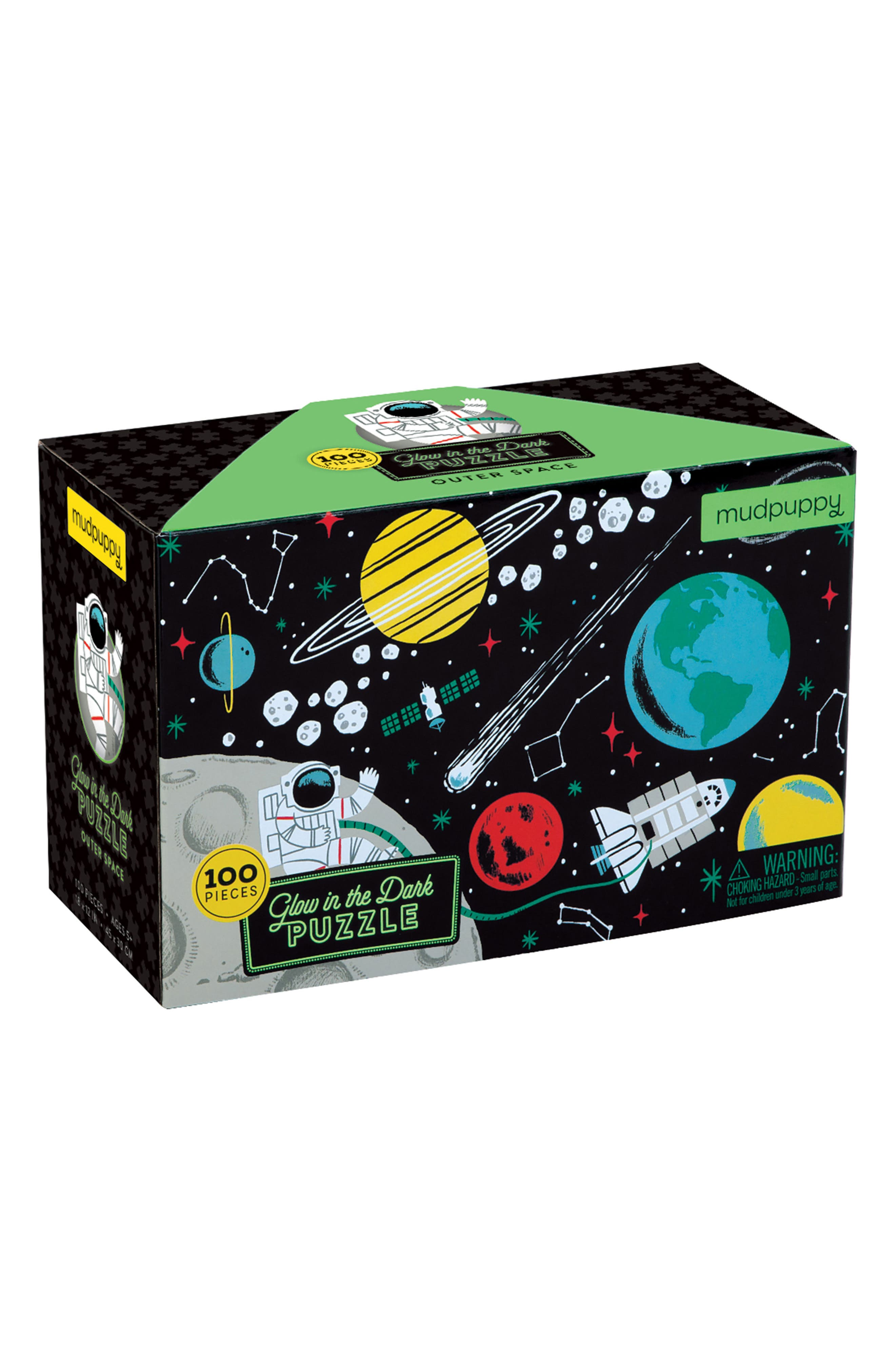 Outer Space 100-Piece Glow-in-the-Dark Puzzle,                         Main,                         color, BLACK