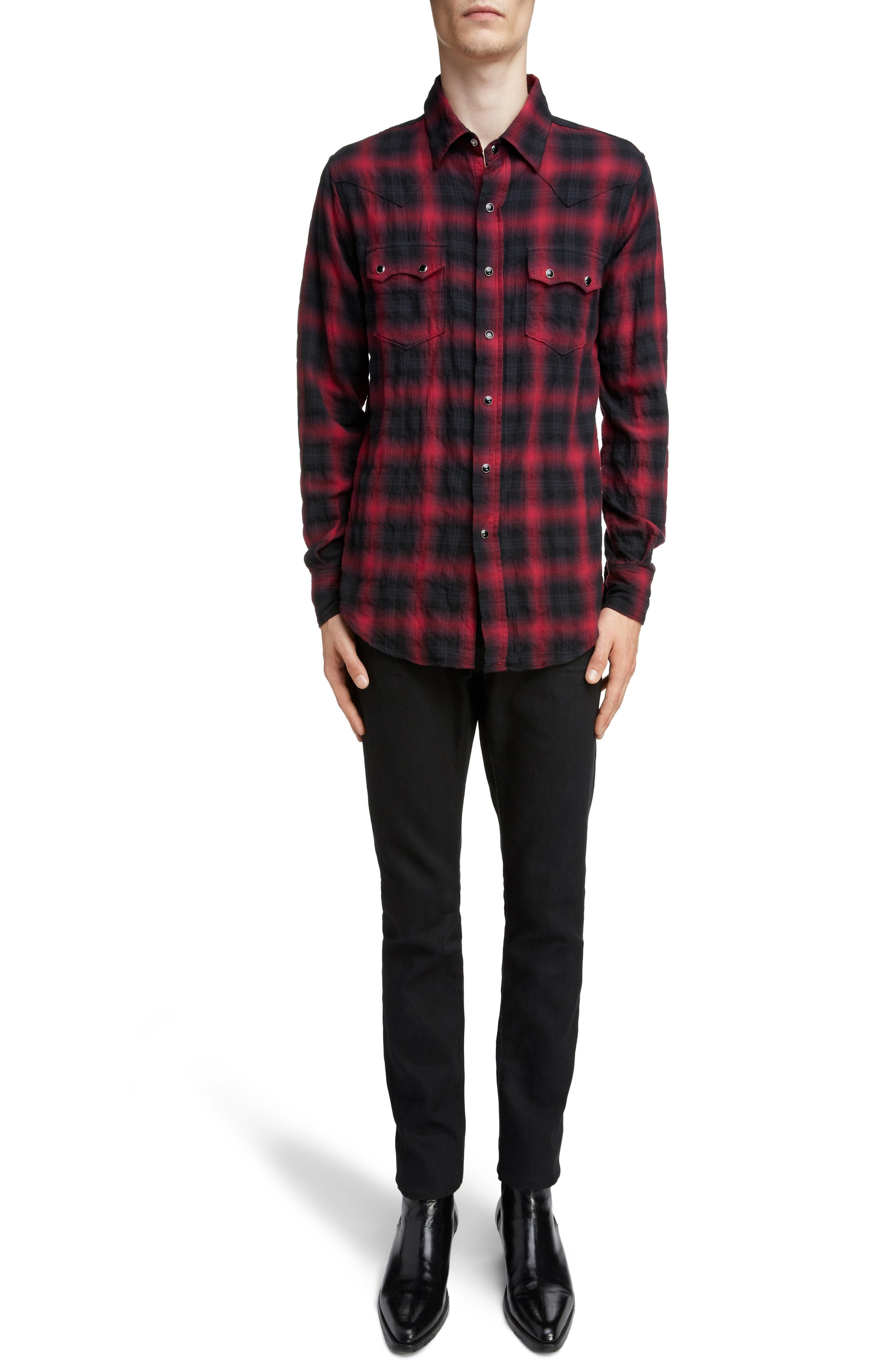 Classic Fit Check Western Shirt,                             Alternate thumbnail 6, color,                             BLACK AND RED CHECK