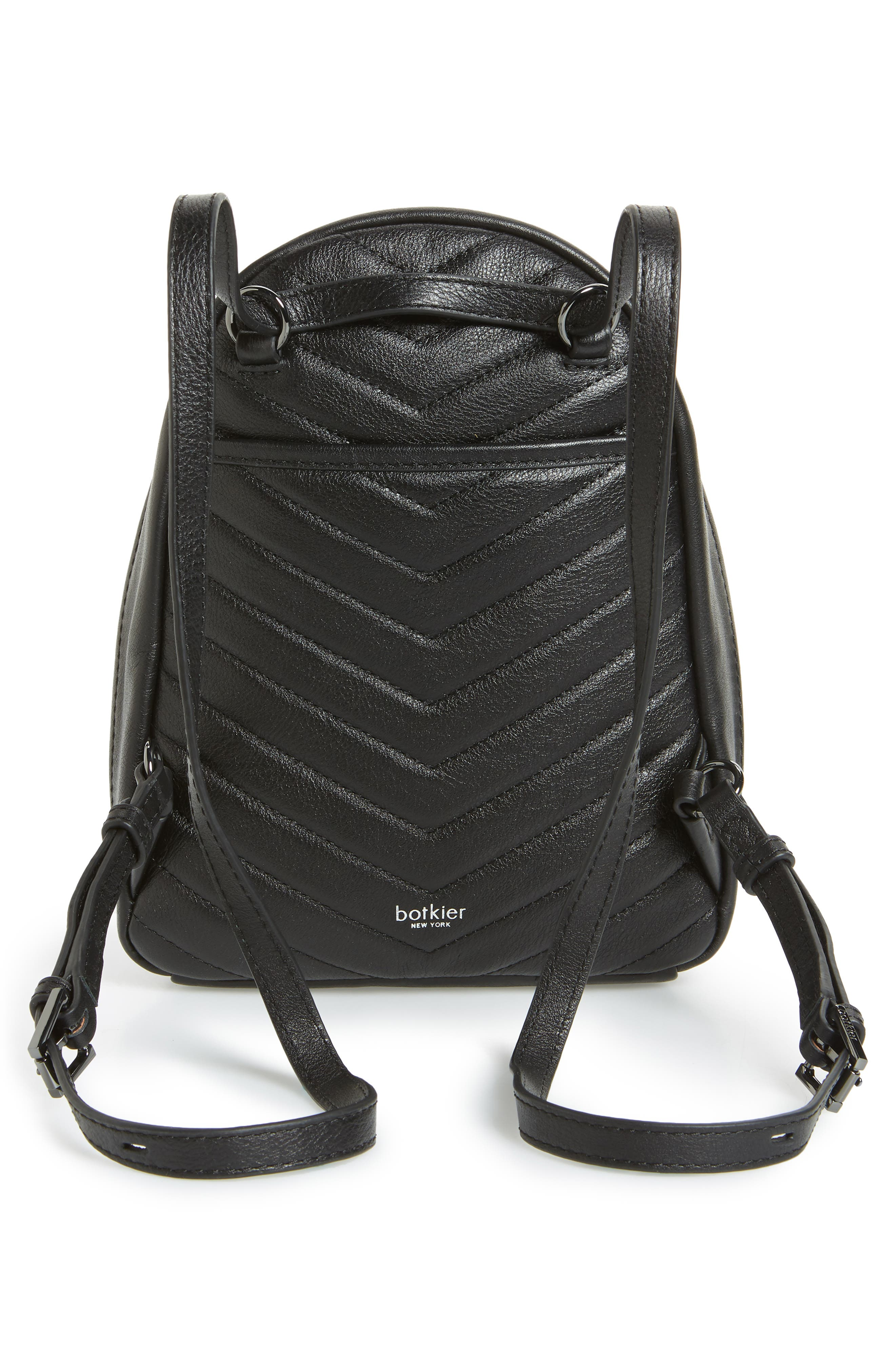 Dakota Quilted Leather Backpack,                             Alternate thumbnail 4, color,                             001