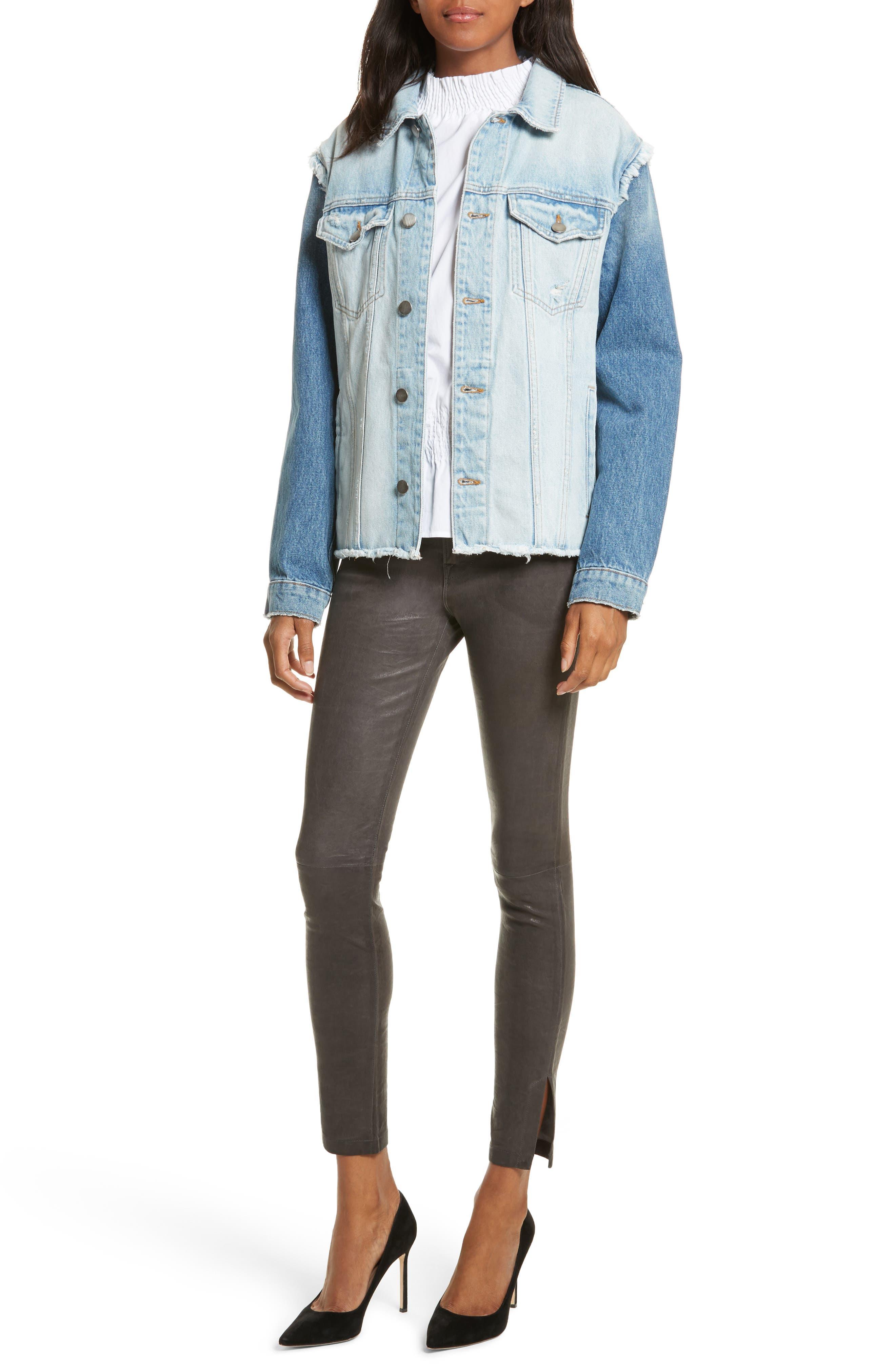 Le High Skinny Slit Leather Pants,                             Alternate thumbnail 14, color,