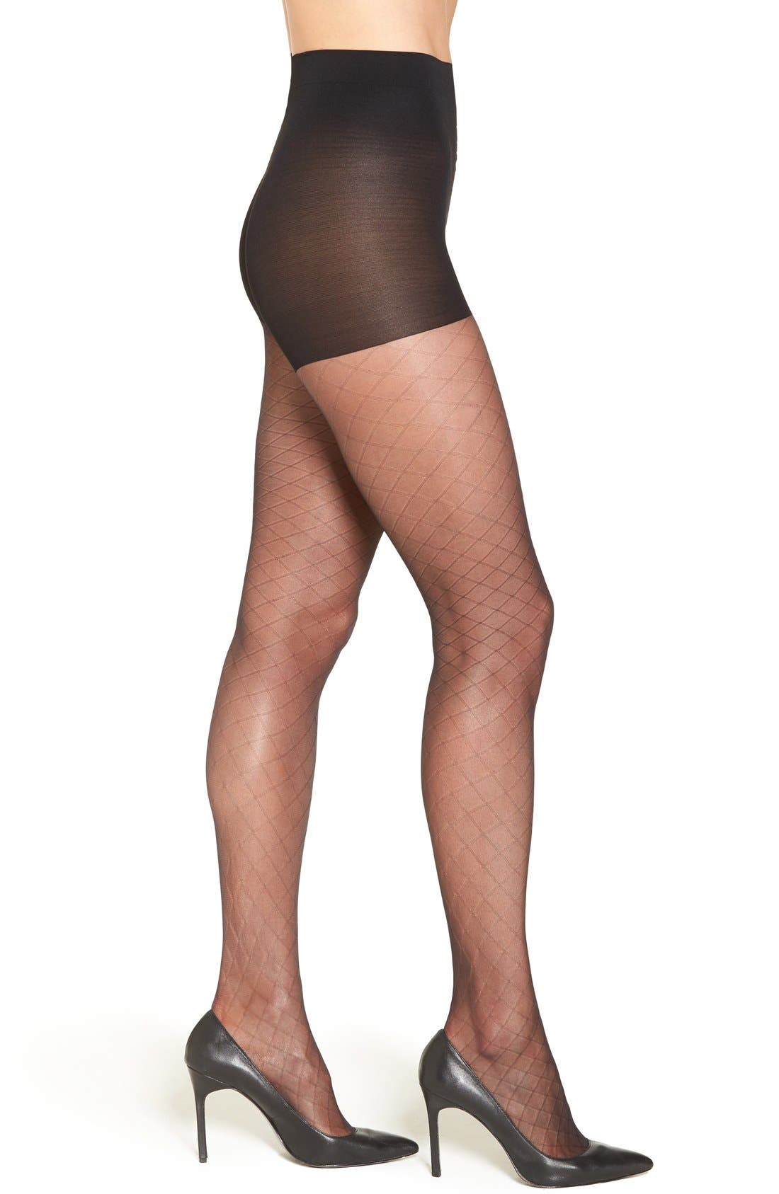 Diamond Knit Sheer Pantyhose,                             Main thumbnail 1, color,                             BLACK