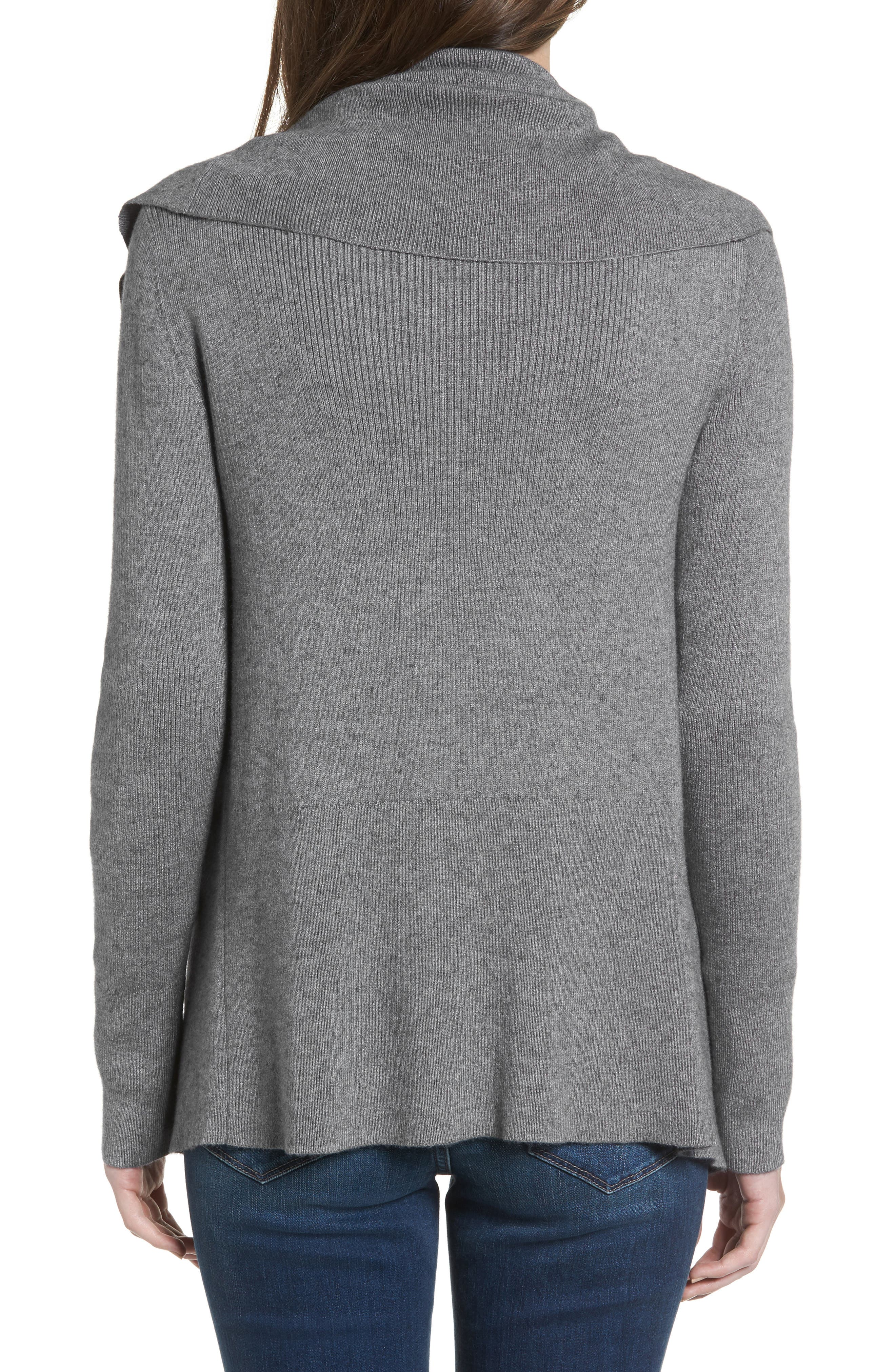 Wide Collar Zip Sweater,                             Alternate thumbnail 2, color,