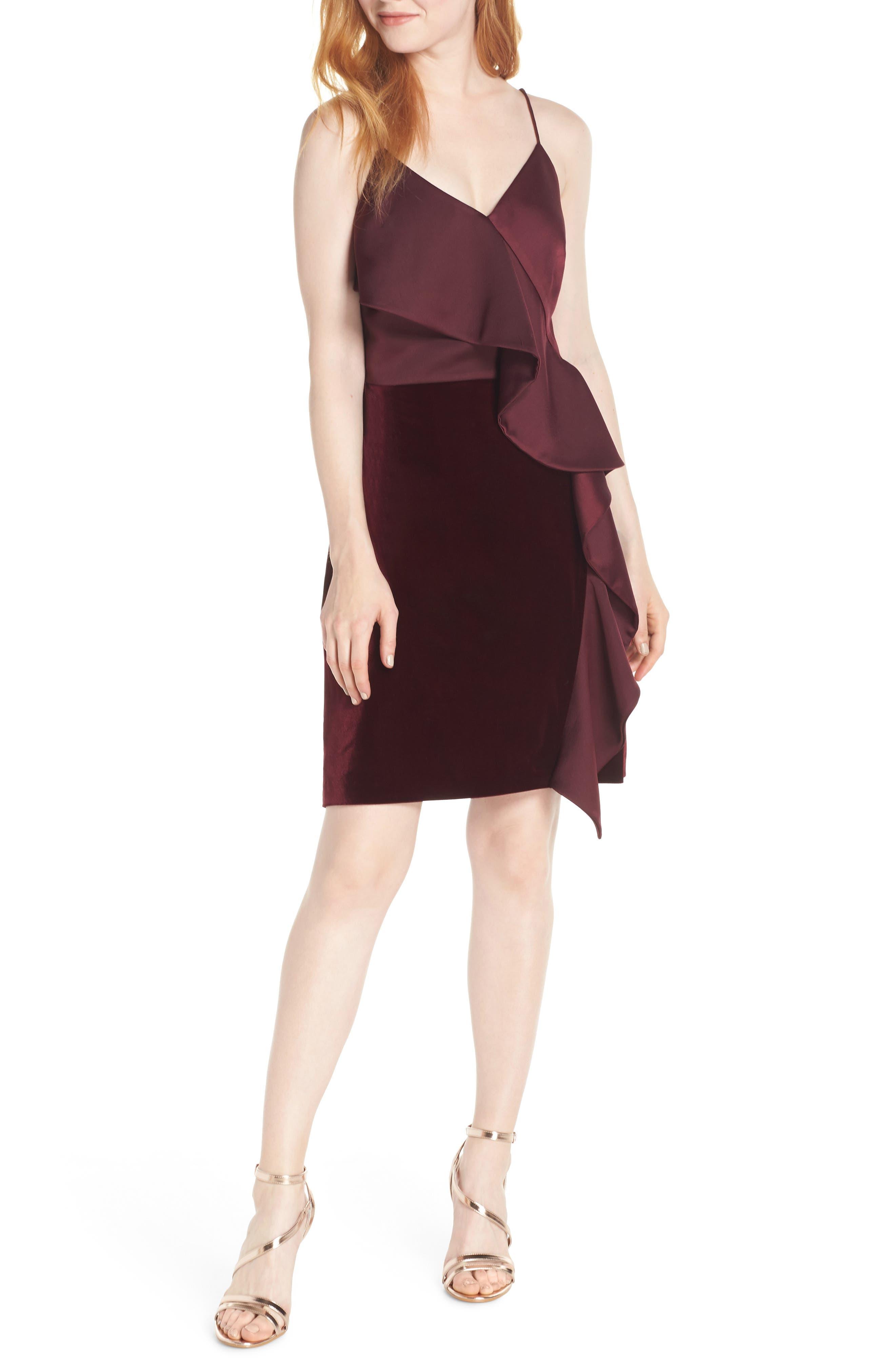 Chelsea28 Ruffle Front Stretch Velvet Dress, Burgundy