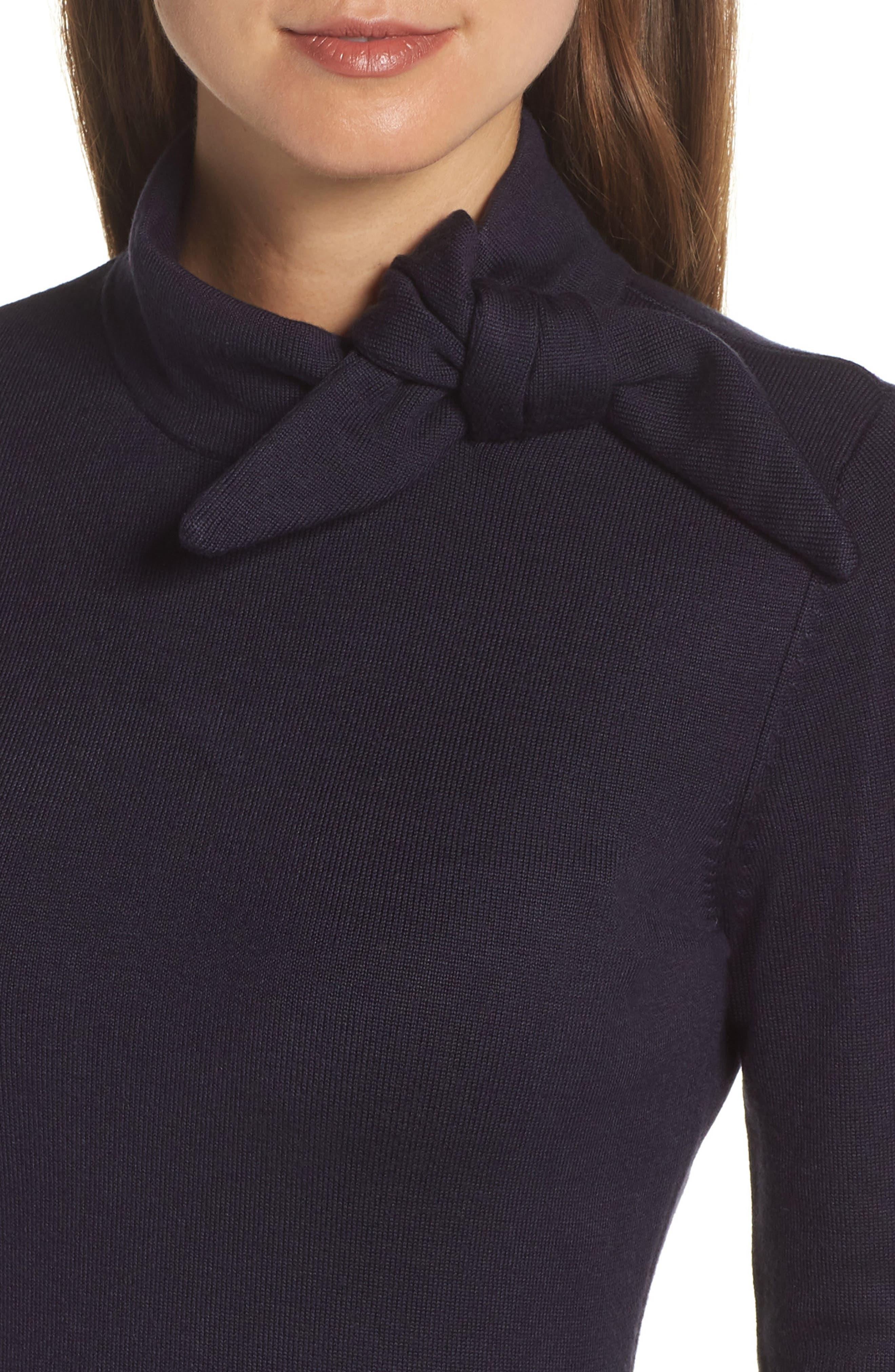 Tie Neck Fit & Flare Dress,                             Alternate thumbnail 4, color,                             NAVY