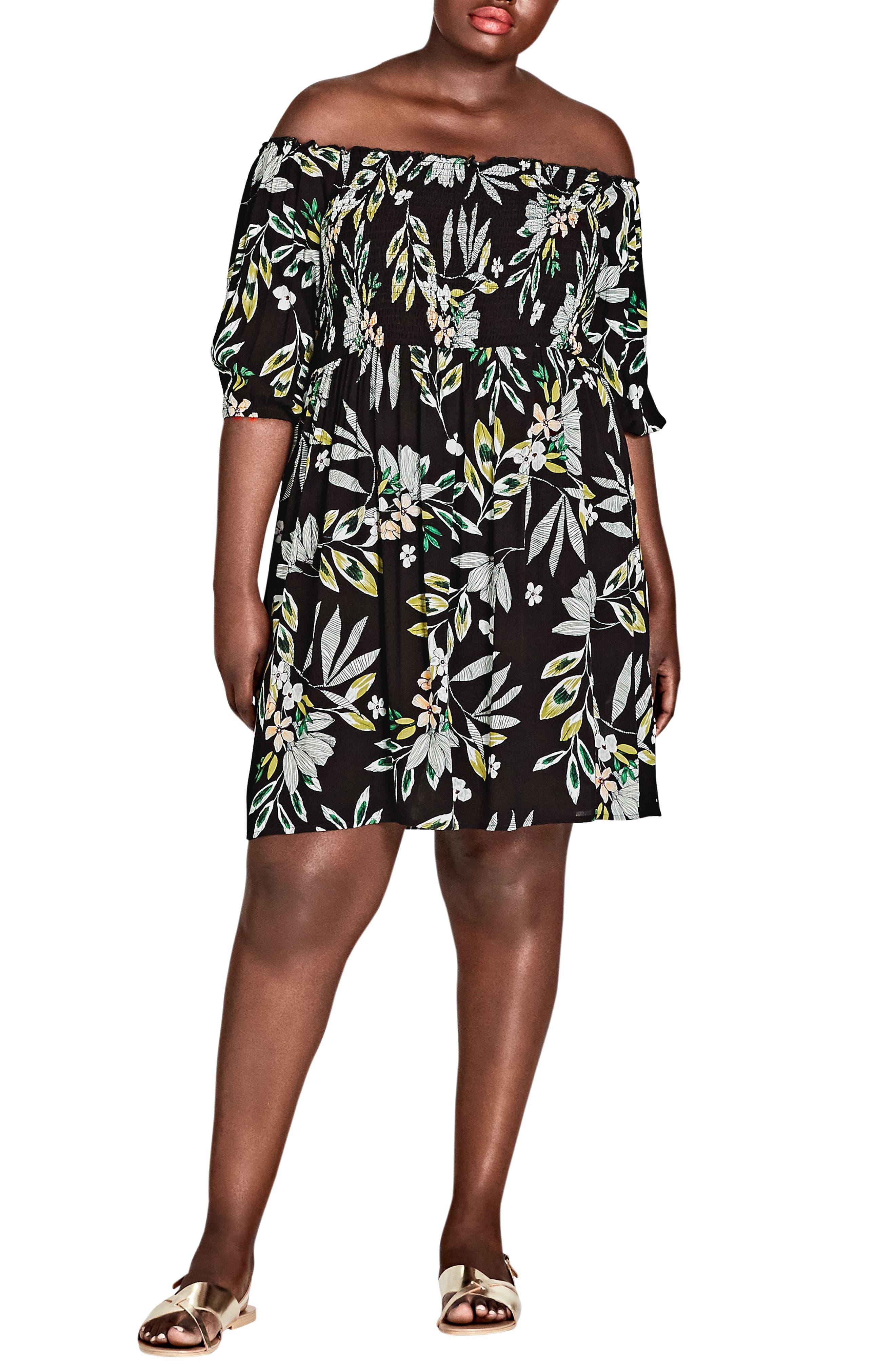 Maui Floral Off the Shoulder Dress,                             Main thumbnail 1, color,                             MAUI FLORAL