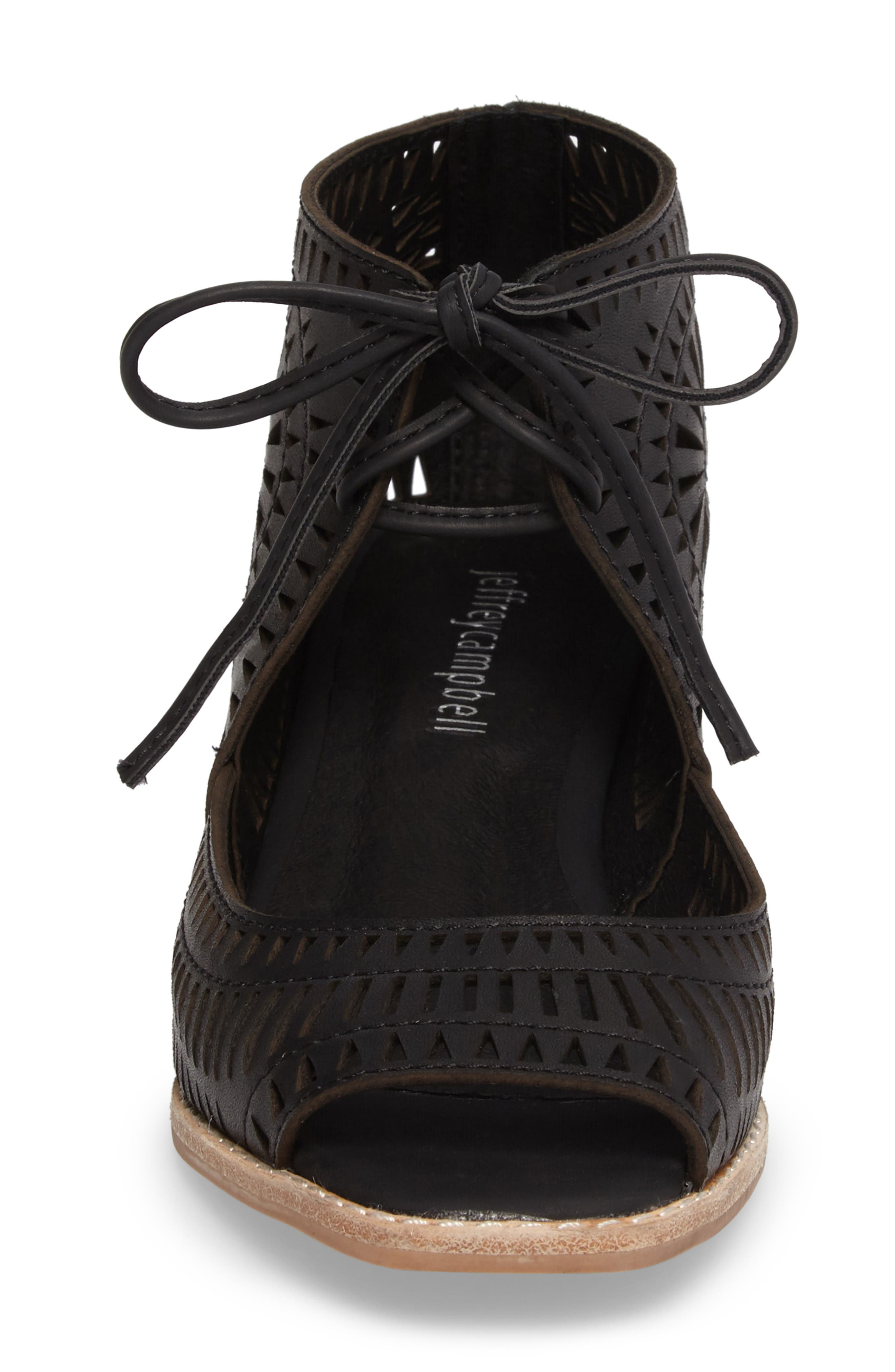 Rayos Perforated Wedge Sandal,                             Alternate thumbnail 4, color,                             001