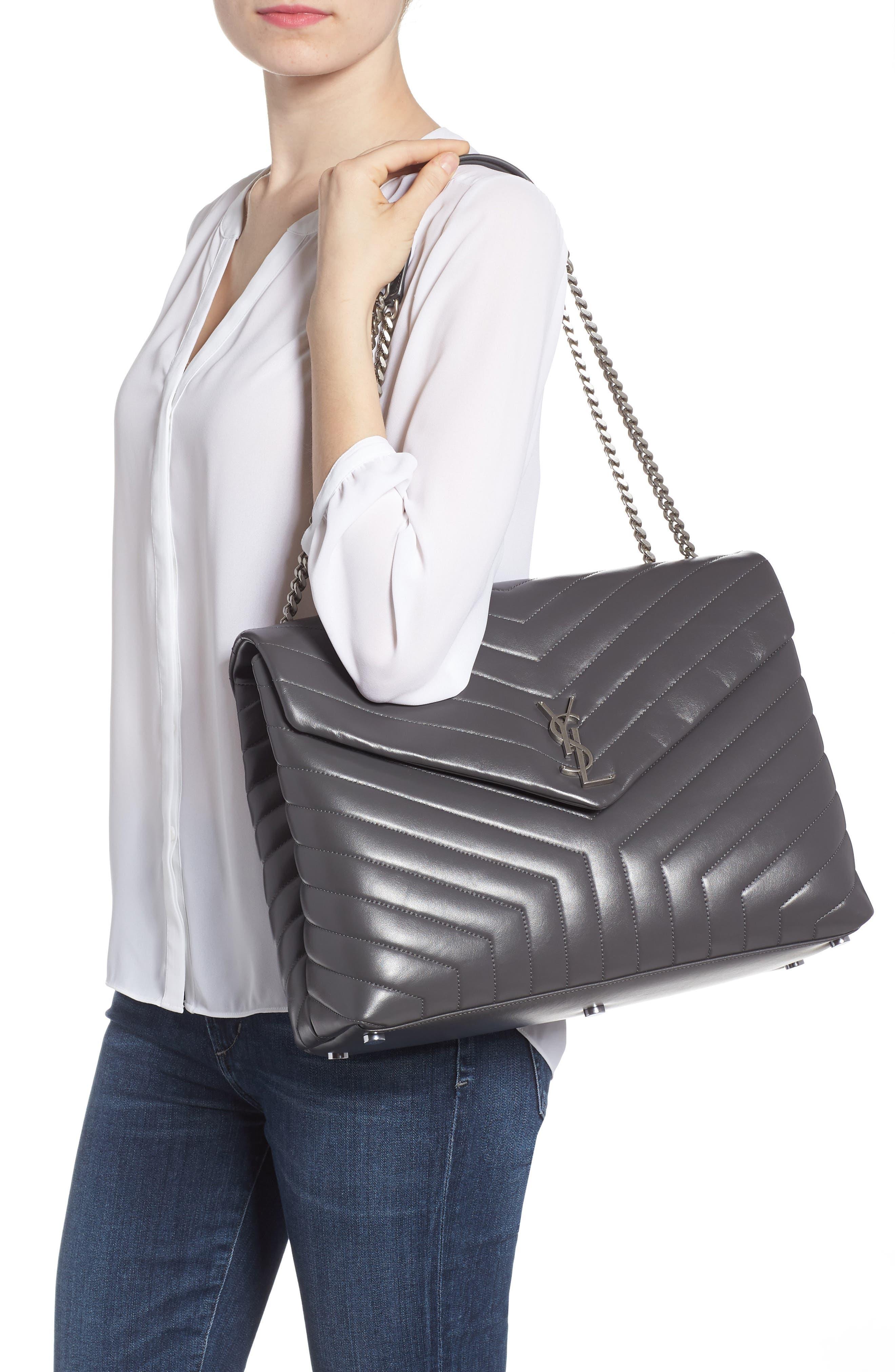Large Loulou Matelassé Leather Shoulder Bag,                             Alternate thumbnail 2, color,                             STORM/ STORM