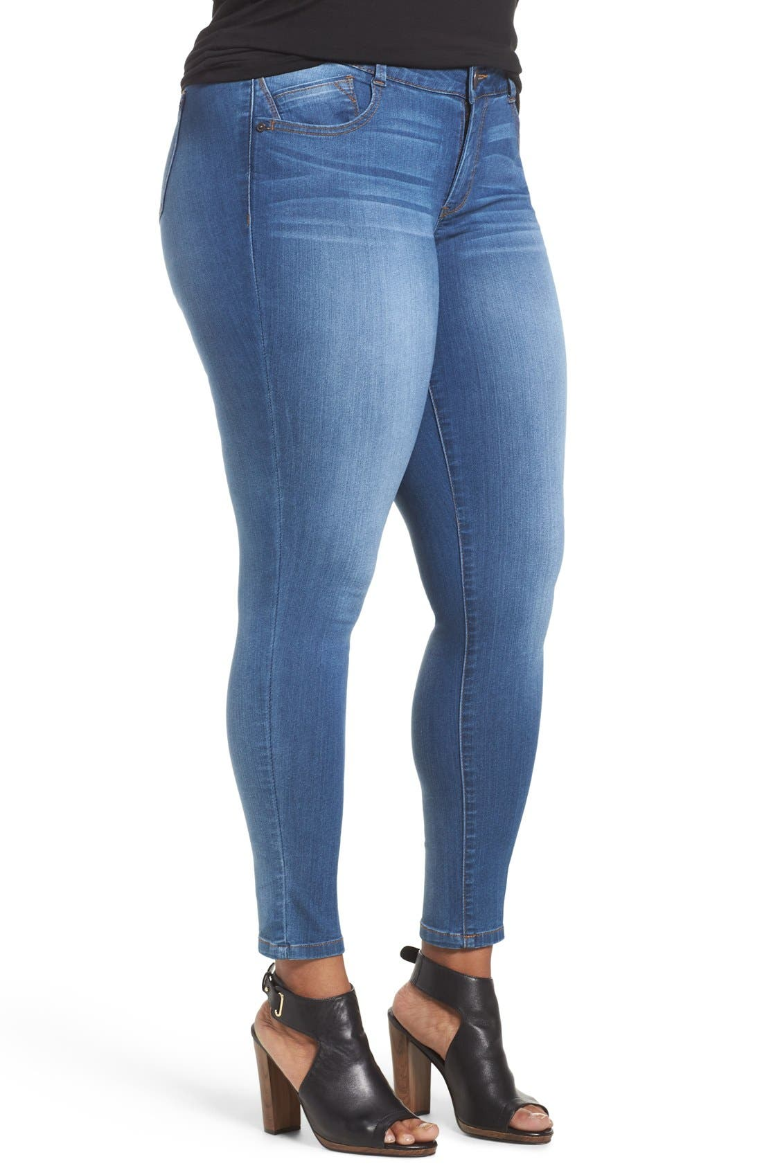Ab-solution Stretch Skinny Jeans,                             Alternate thumbnail 4, color,                             BLUE