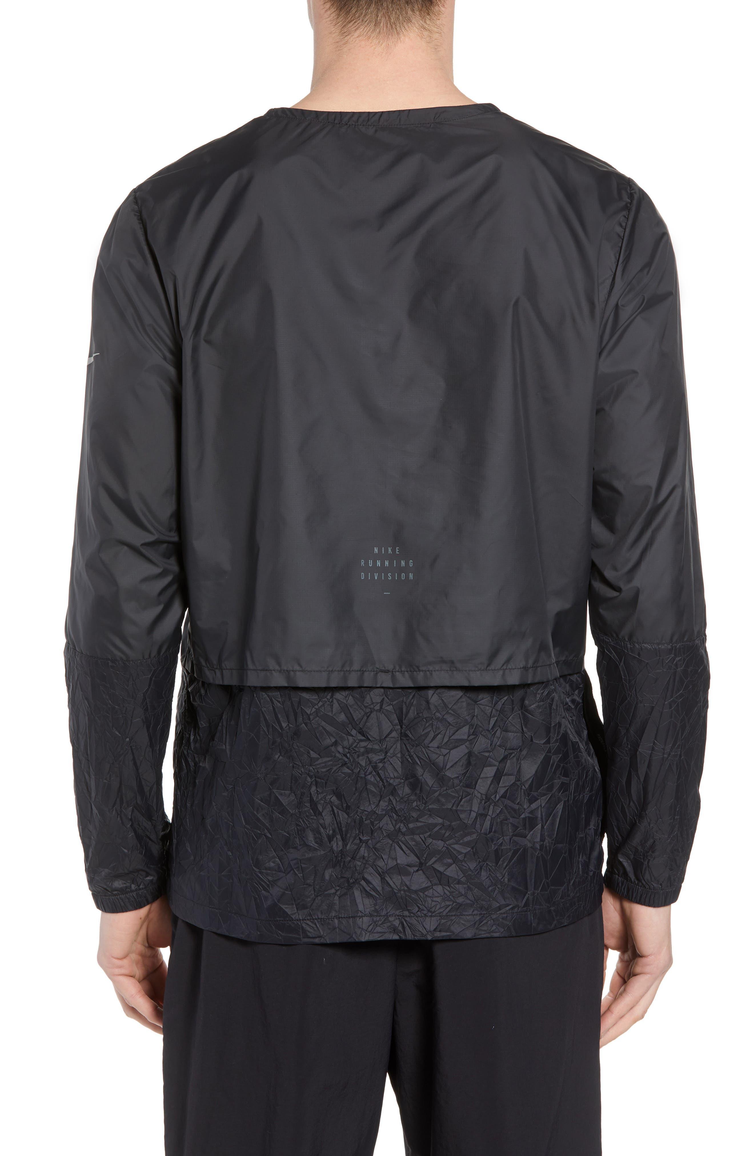 Long Sleeve Crinkle Crew Running Shirt,                             Alternate thumbnail 2, color,                             BLACK