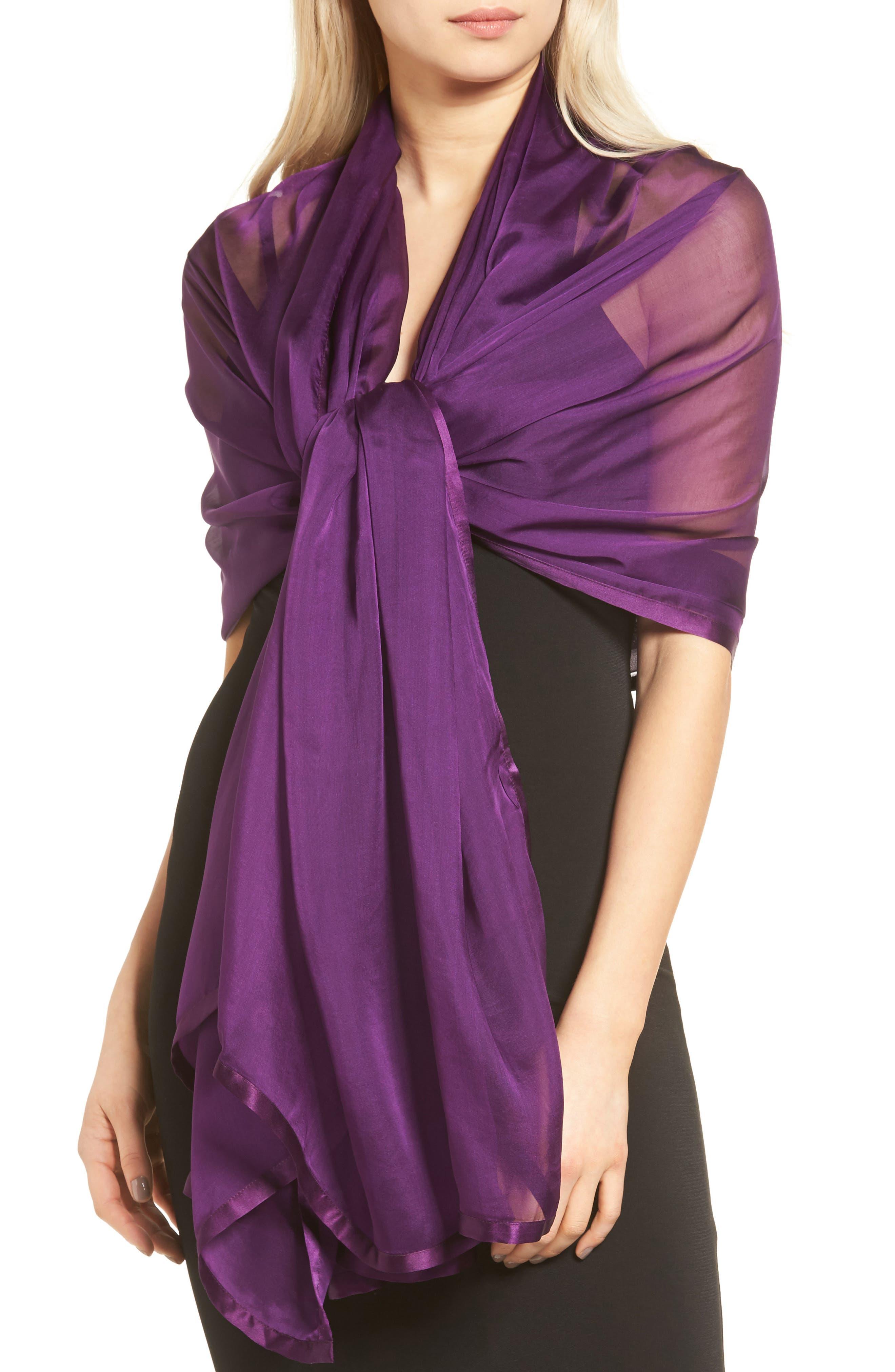 Satin Border Silk Wrap,                             Alternate thumbnail 39, color,