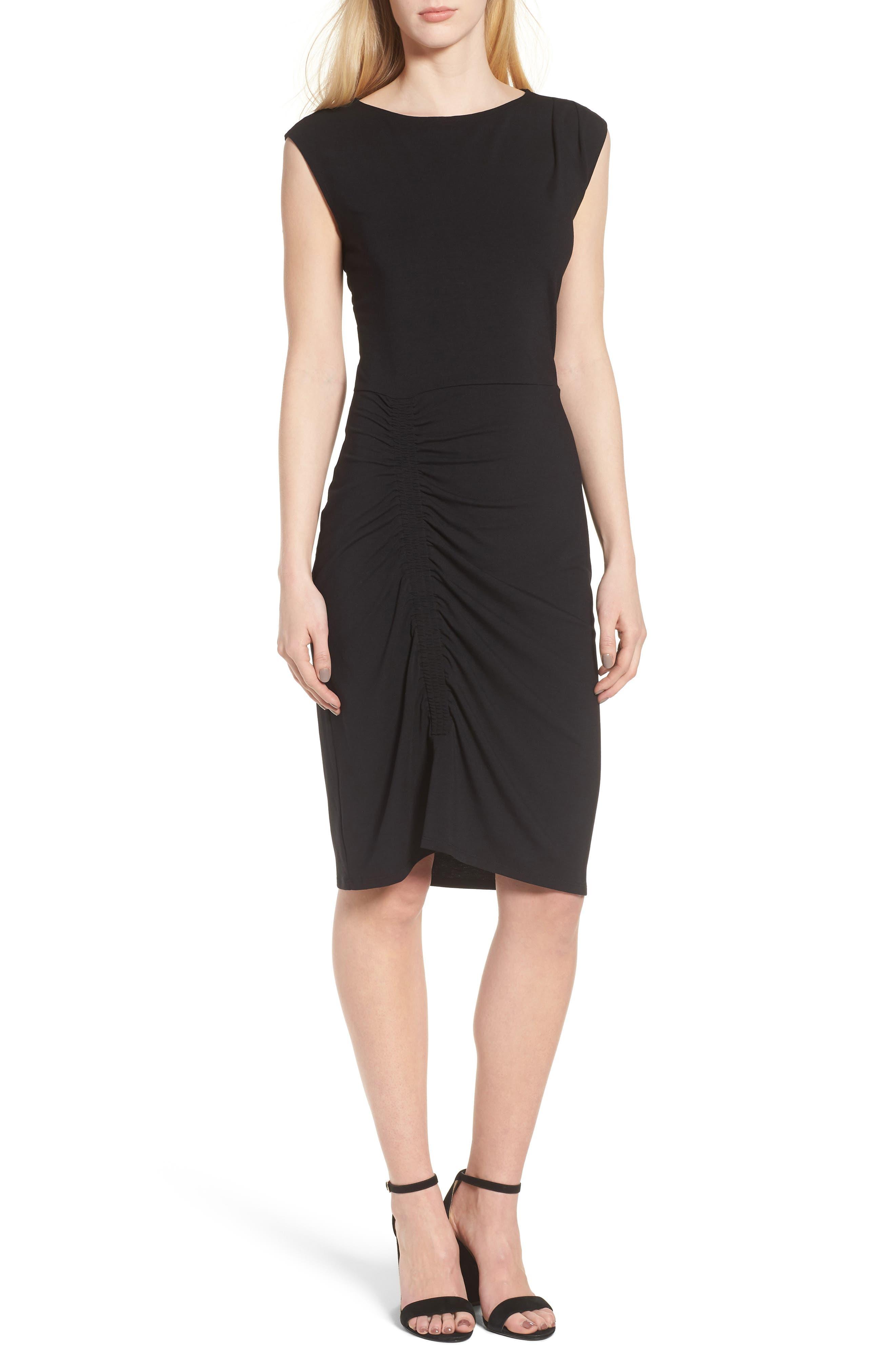 Ruched Knit Dress,                             Main thumbnail 1, color,                             001