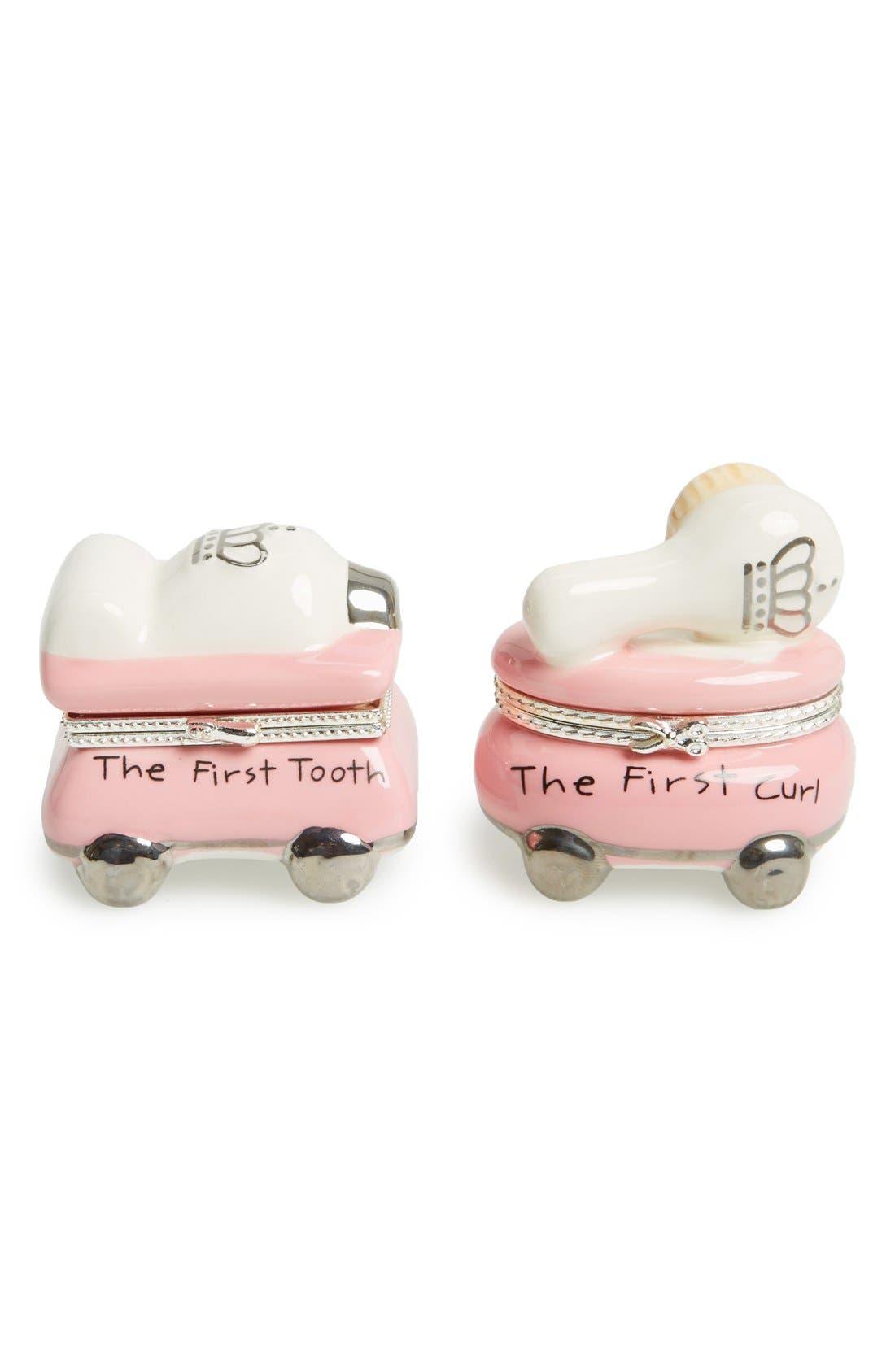 'Princess' First Tooth & Curl Treasure Box Set,                             Main thumbnail 1, color,                             PINK