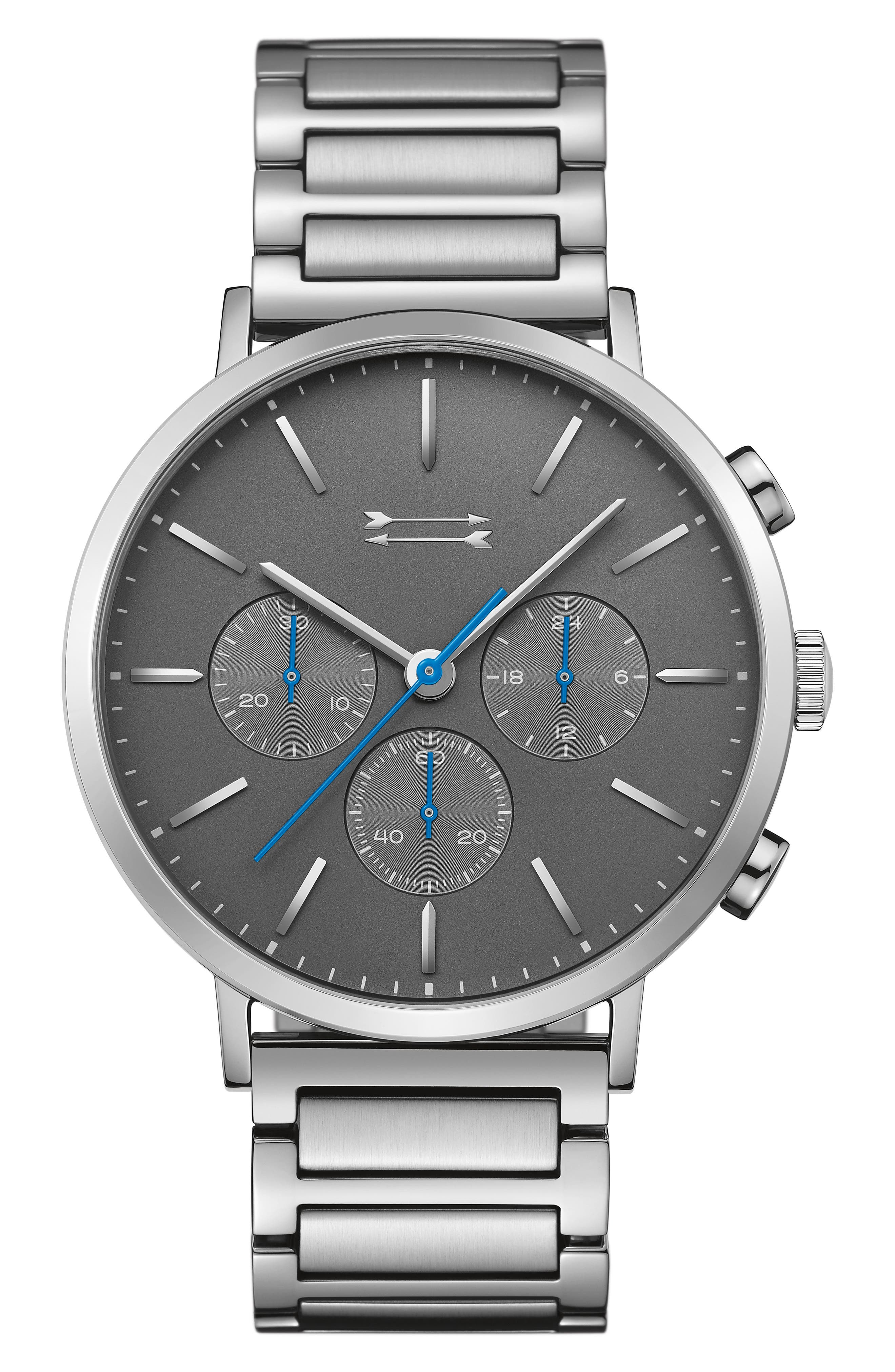 Griffith Bracelet Watch, 43mm,                             Main thumbnail 1, color,                             SILVER/ GREY/ SILVER