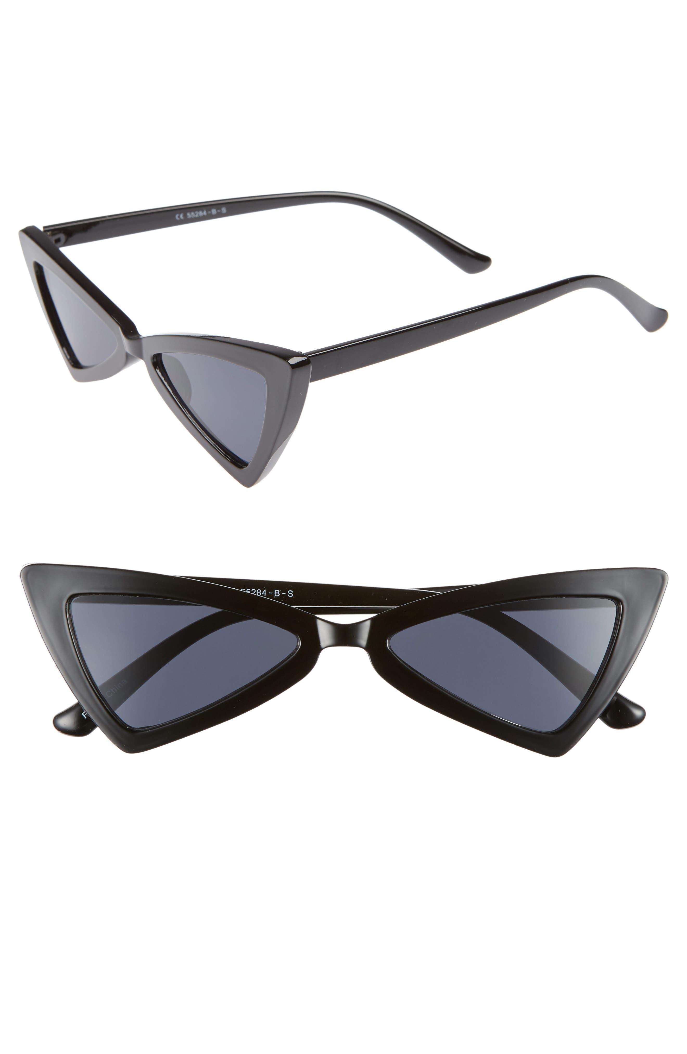 Futuristic 55mm Cat Eye Sunglasses,                             Main thumbnail 1, color,                             BLACK