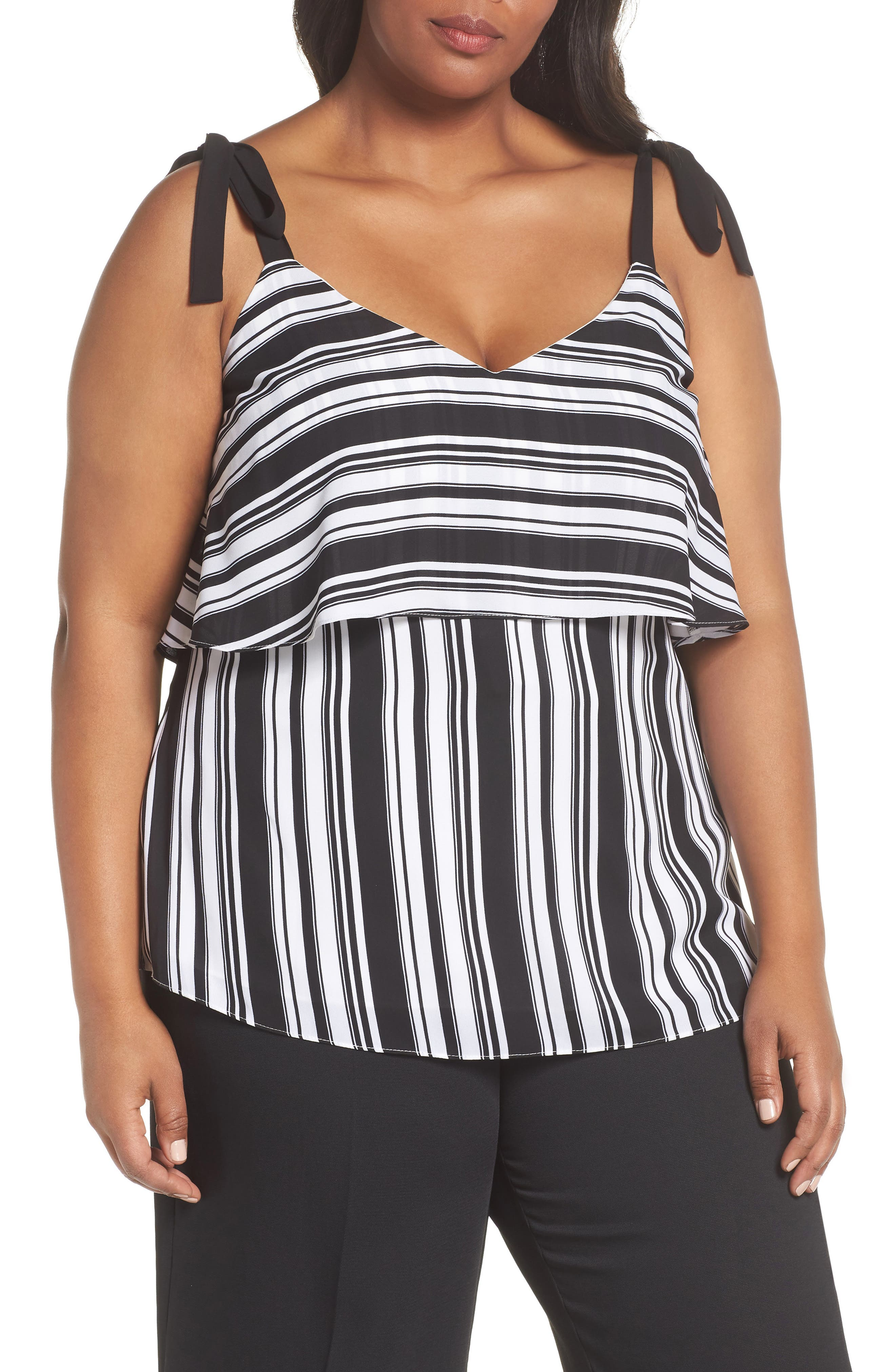Stripe It Lucky Top,                         Main,                         color, BLACK STRIPE