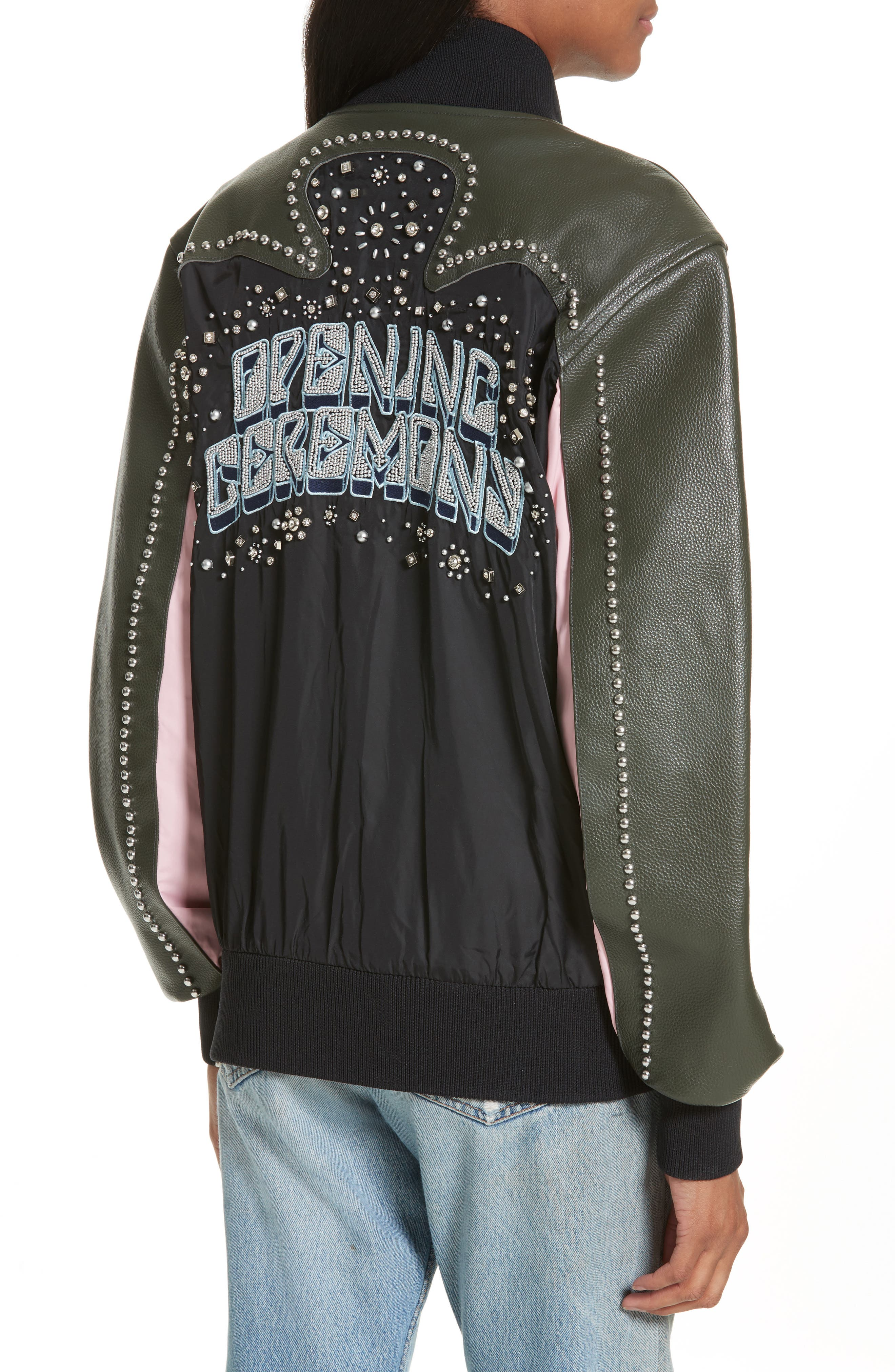 Studded Western Varsity Jacket,                             Alternate thumbnail 2, color,                             002
